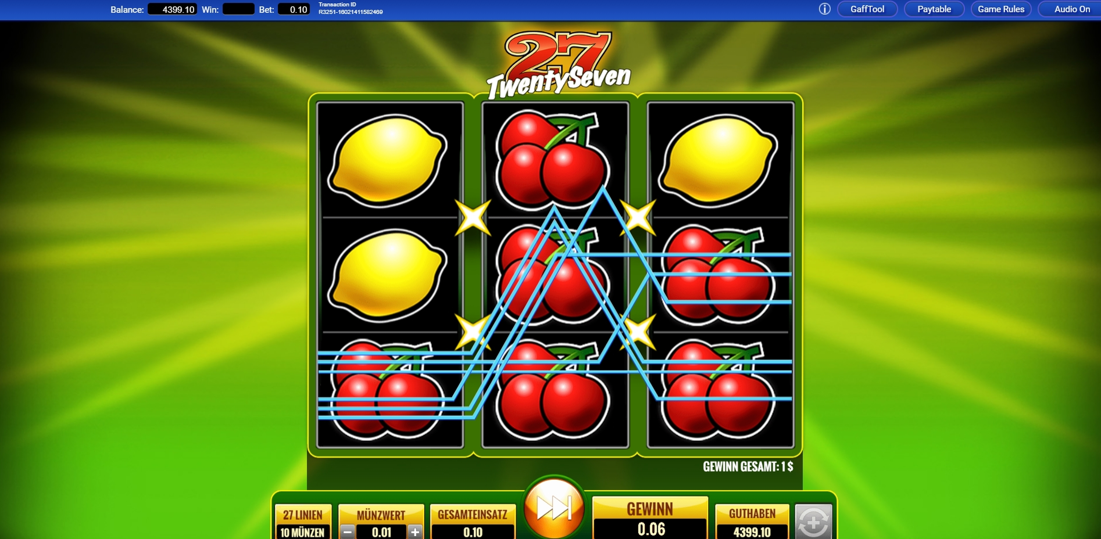 Win Money in Twenty Seven Free Slot Game by IGT