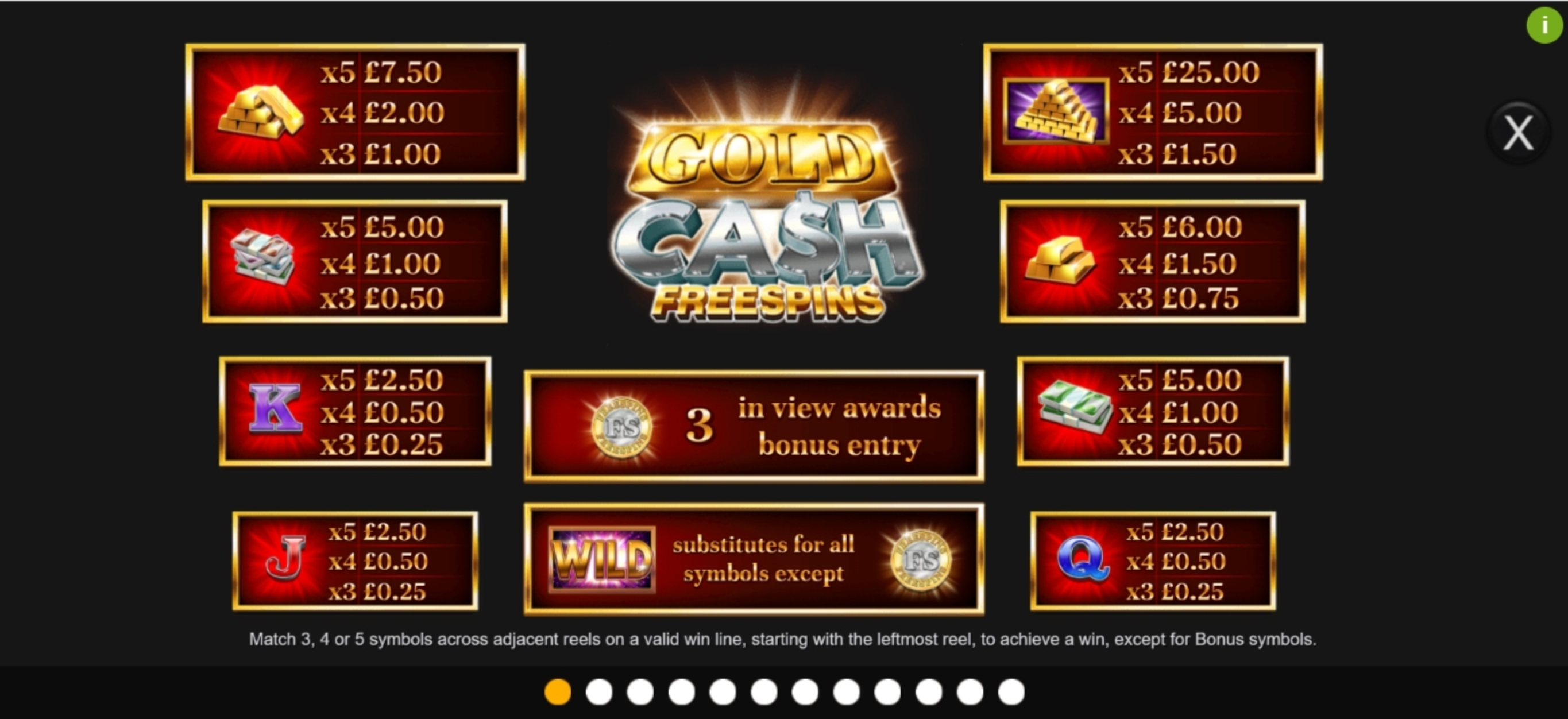 Info of Gold Cash Free Spins Slot Game by Inspired Gaming