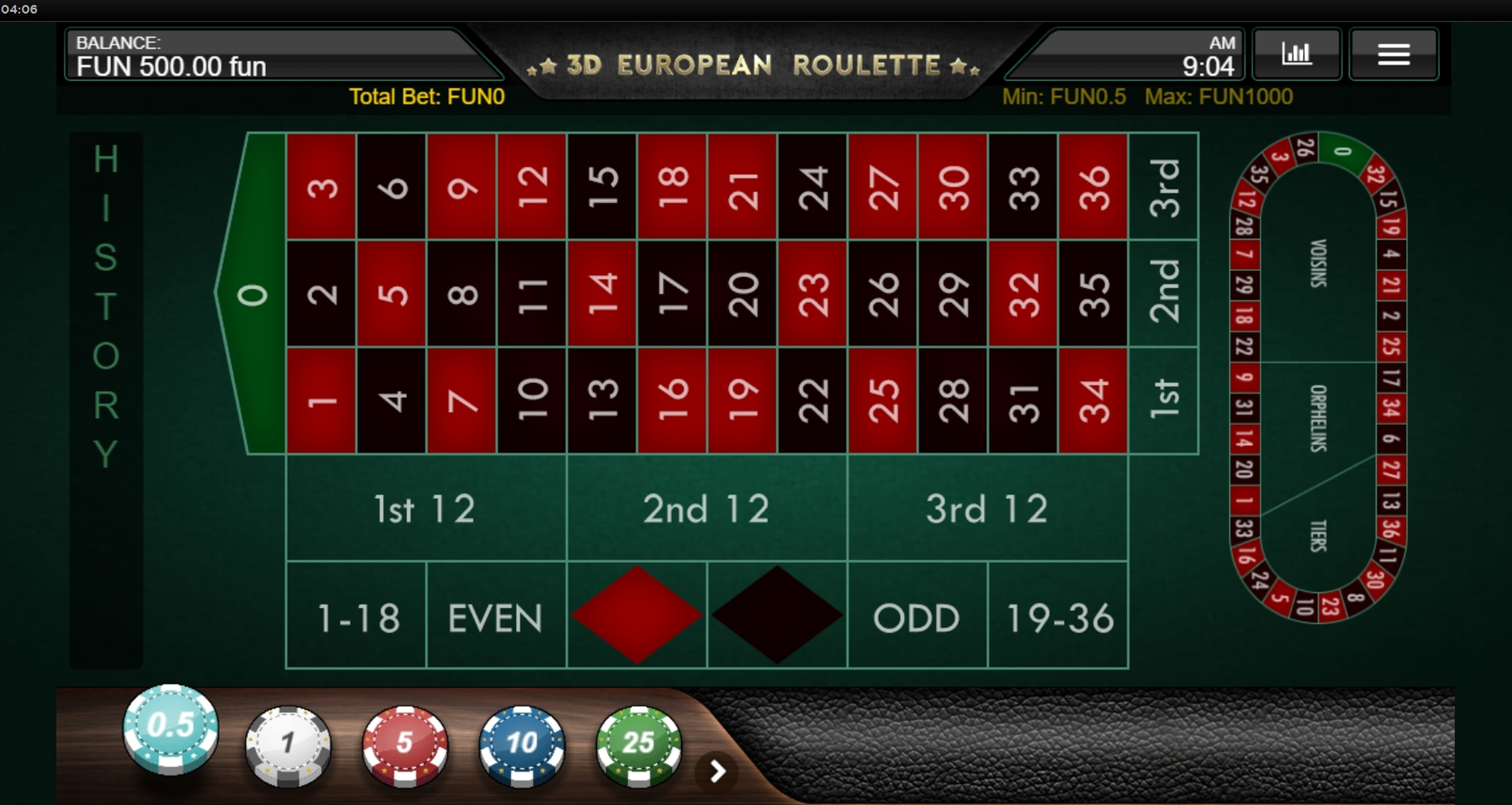 Reels in 3D European Roulette (IronDog) Slot Game by IronDog