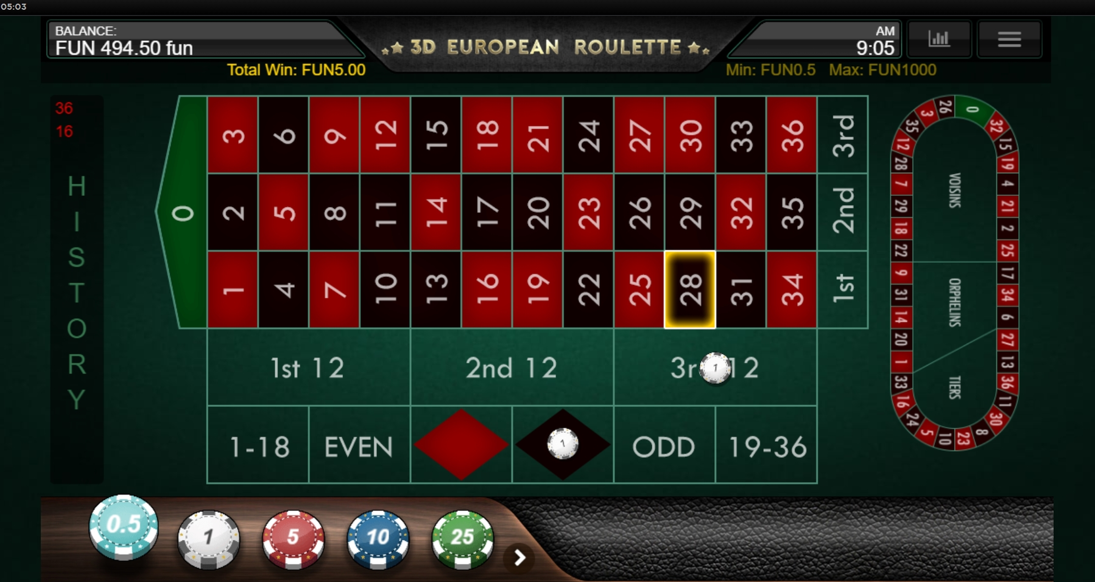 Win Money in 3D European Roulette (IronDog) Free Slot Game by IronDog