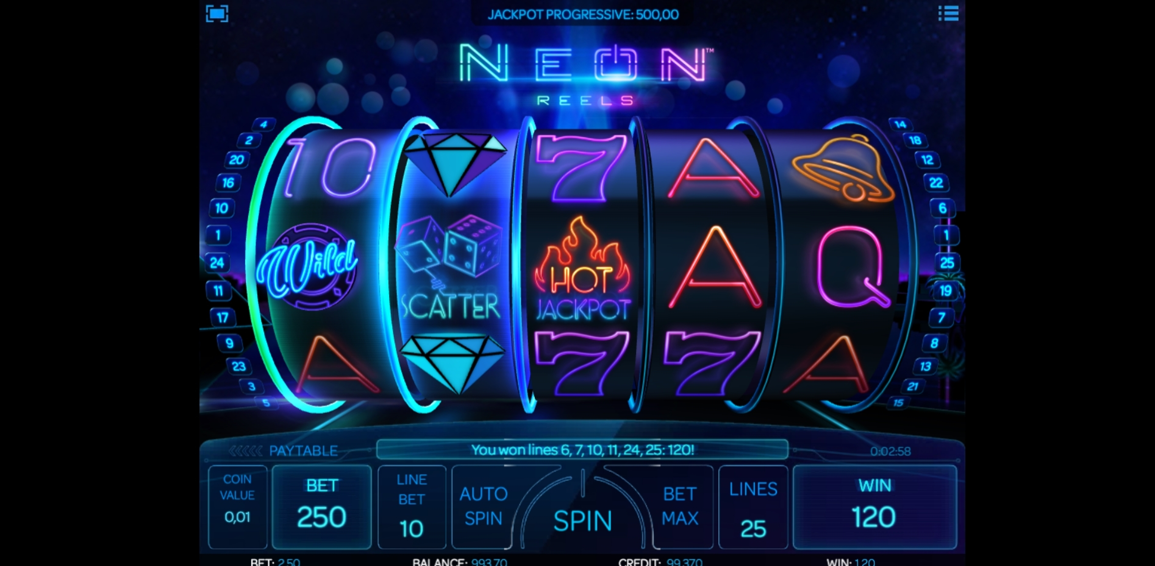 Win Money in Neon Reels Free Slot Game by iSoftBet