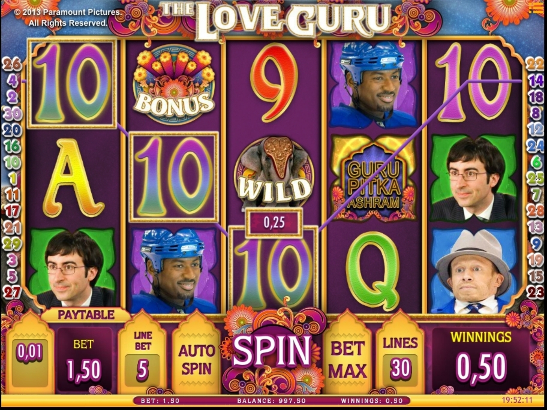 Win Money in The Love Guru Free Slot Game by iSoftBet