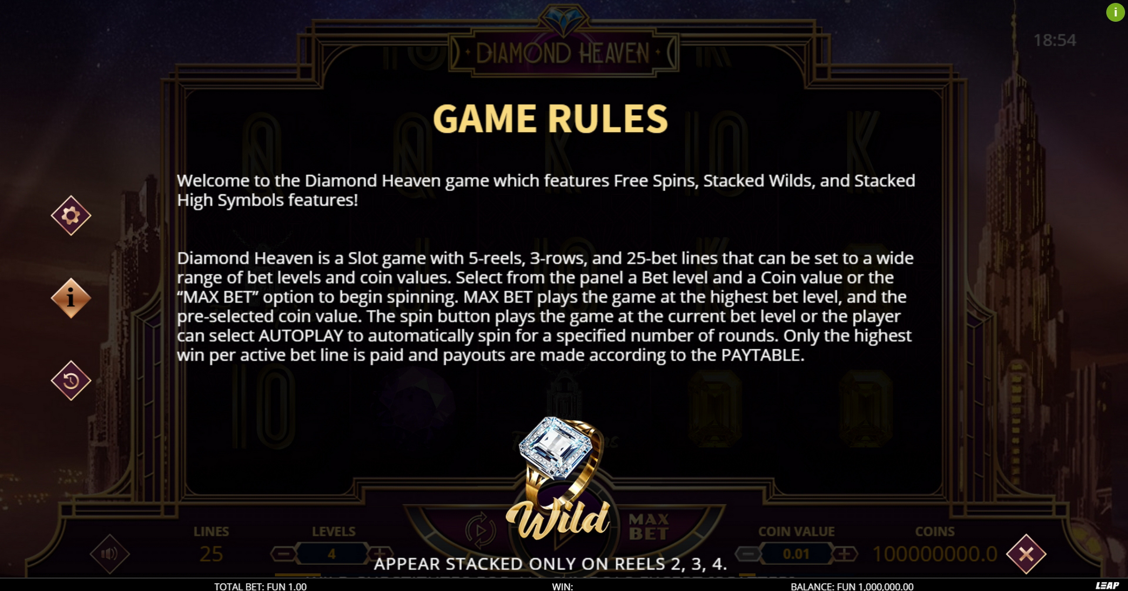 Info of Diamond Heaven Slot Game by Leap Gaming