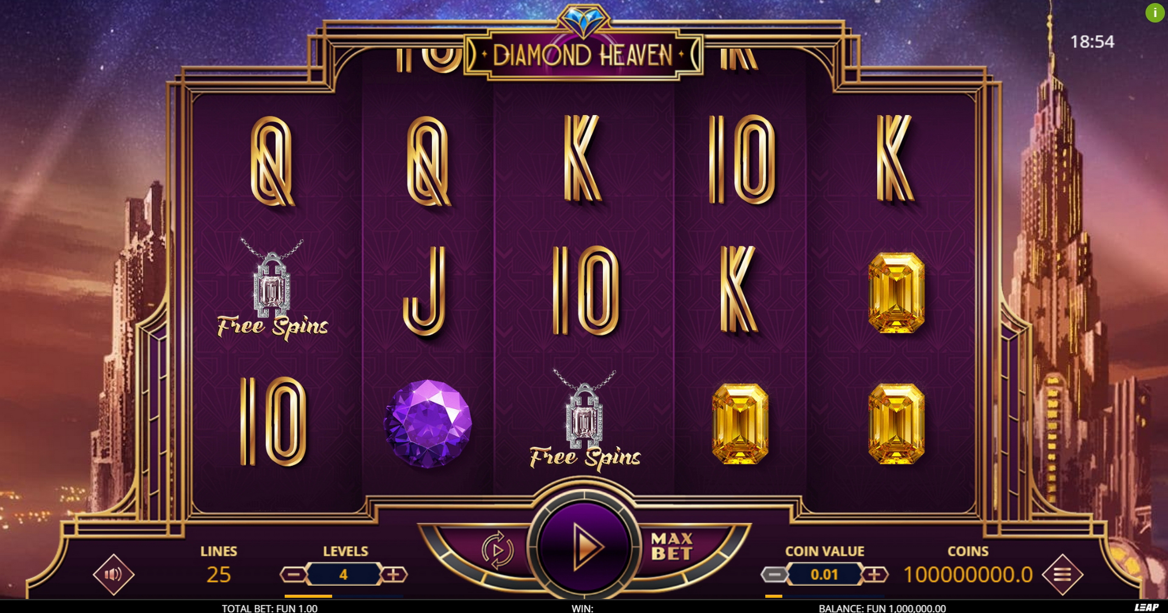 Reels in Diamond Heaven Slot Game by Leap Gaming