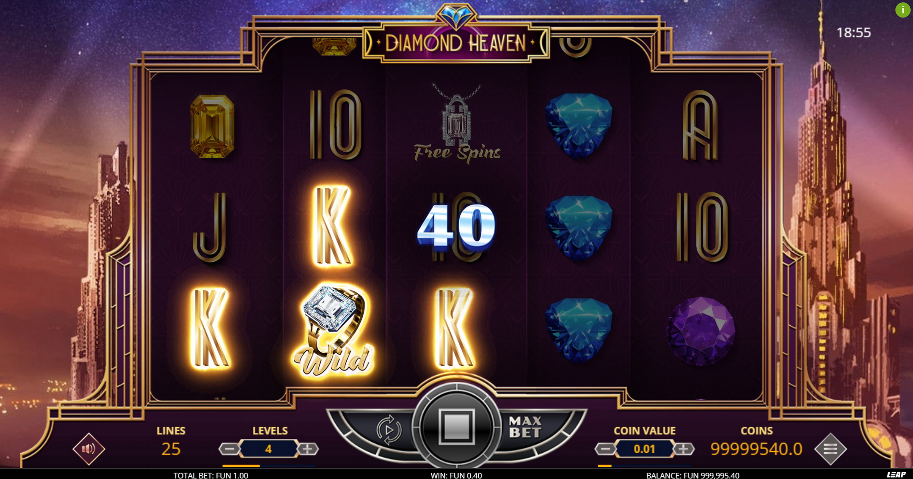 Win Money in Diamond Heaven Free Slot Game by Leap Gaming