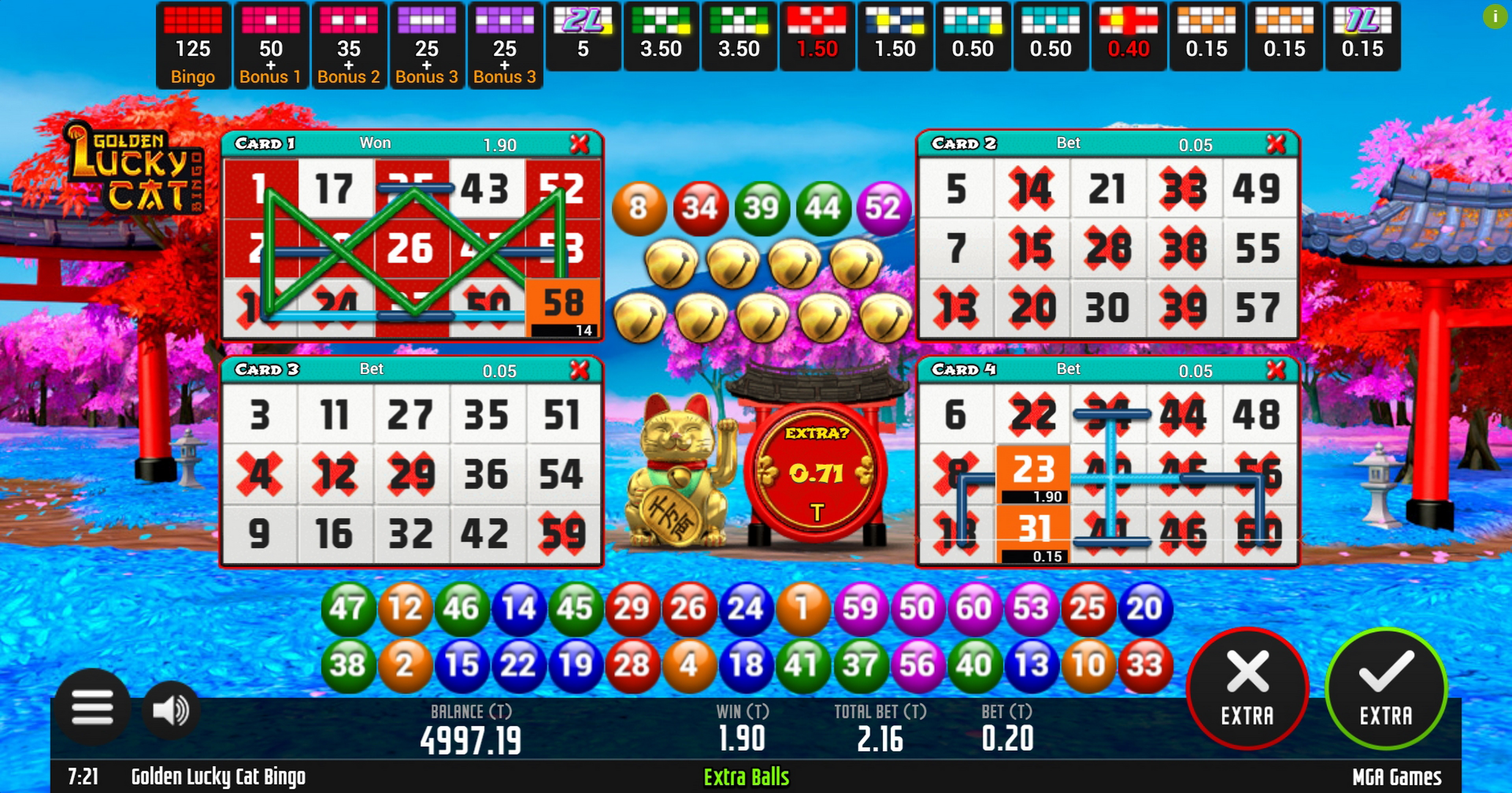 Win Money in Golden Lucky Cat Bingo Free Slot Game by MGA
