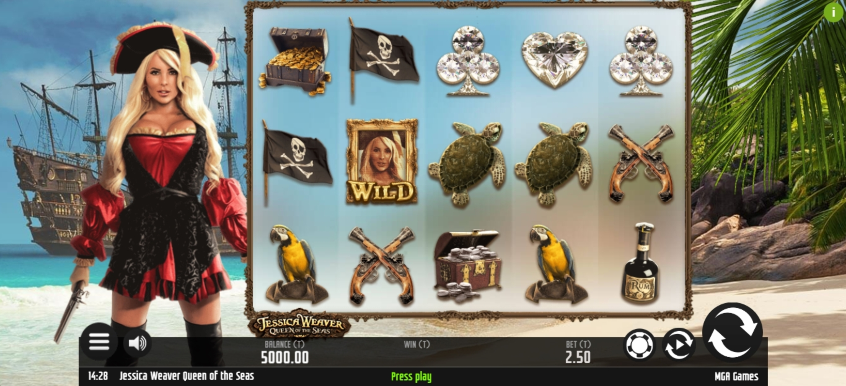 Reels in Jessica Weaver Queen of the Seas Slot Game by MGA