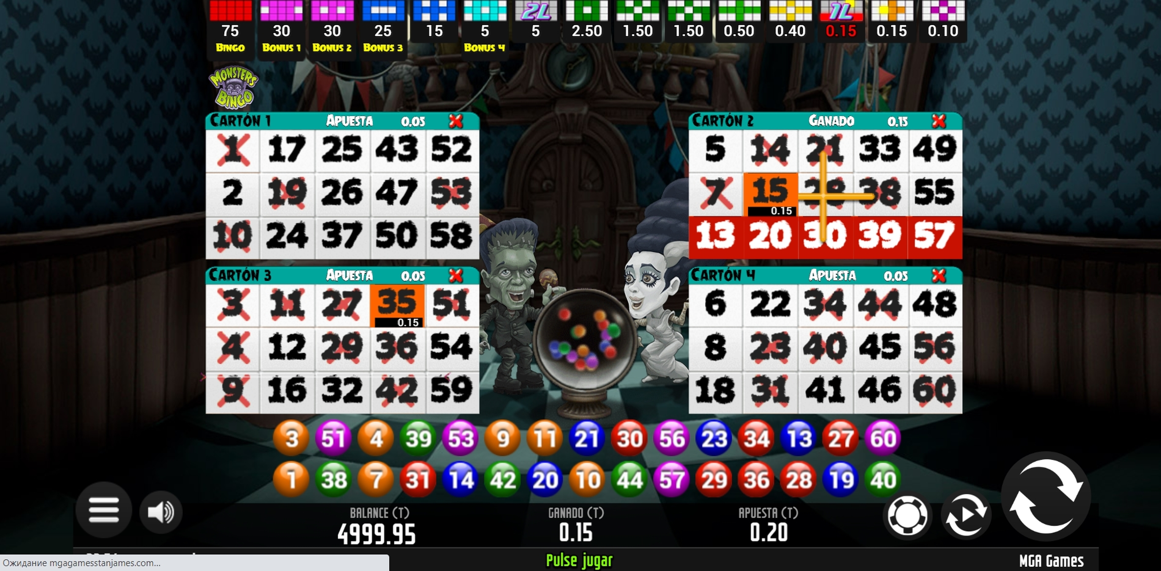 Win Money in Monsters Bingo Free Slot Game by MGA