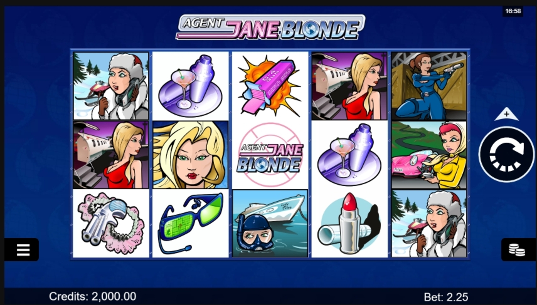 Reels in Agent Jane Blonde Slot Game by Microgaming