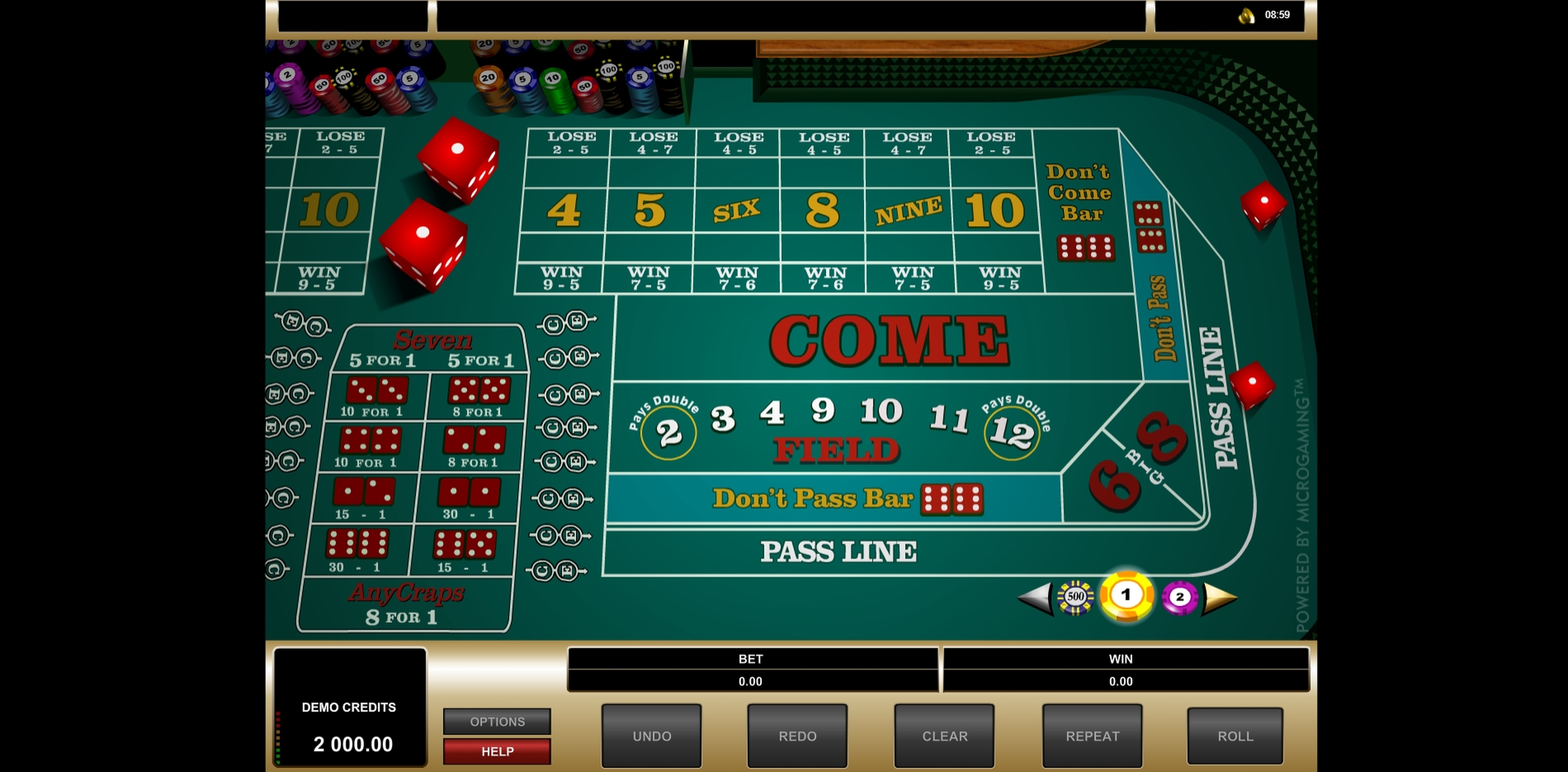 Reels in Craps (Microgaming) Slot Game by Microgaming