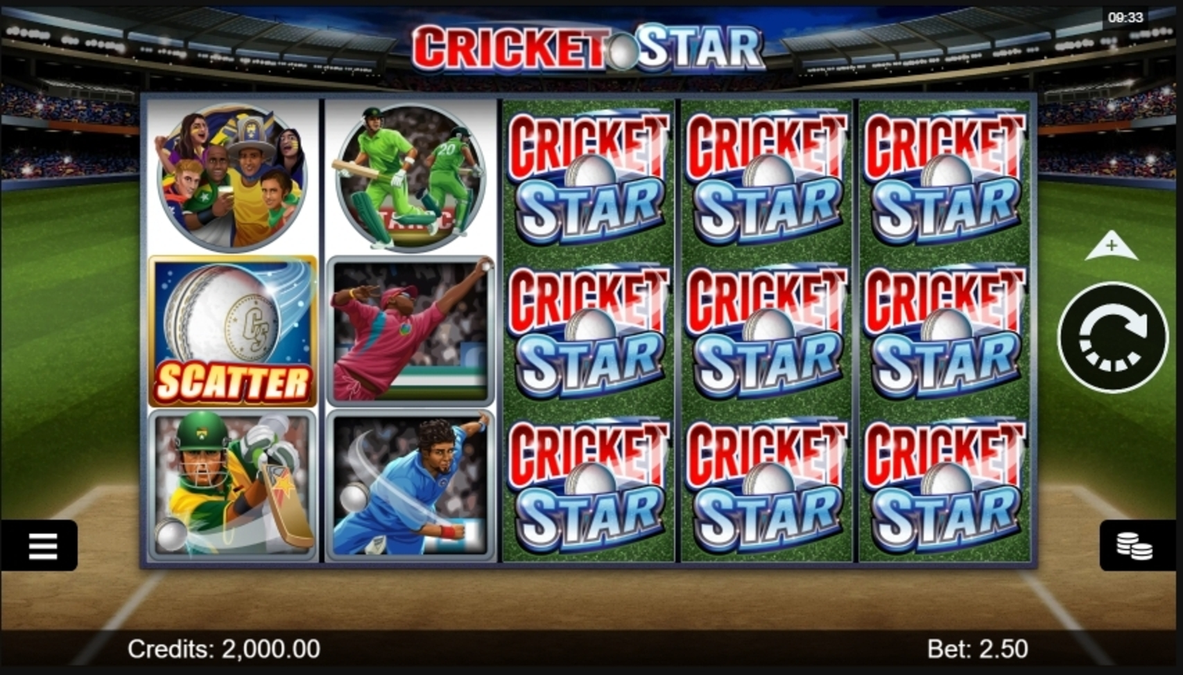 Reels in Cricket Star Slot Game by Microgaming