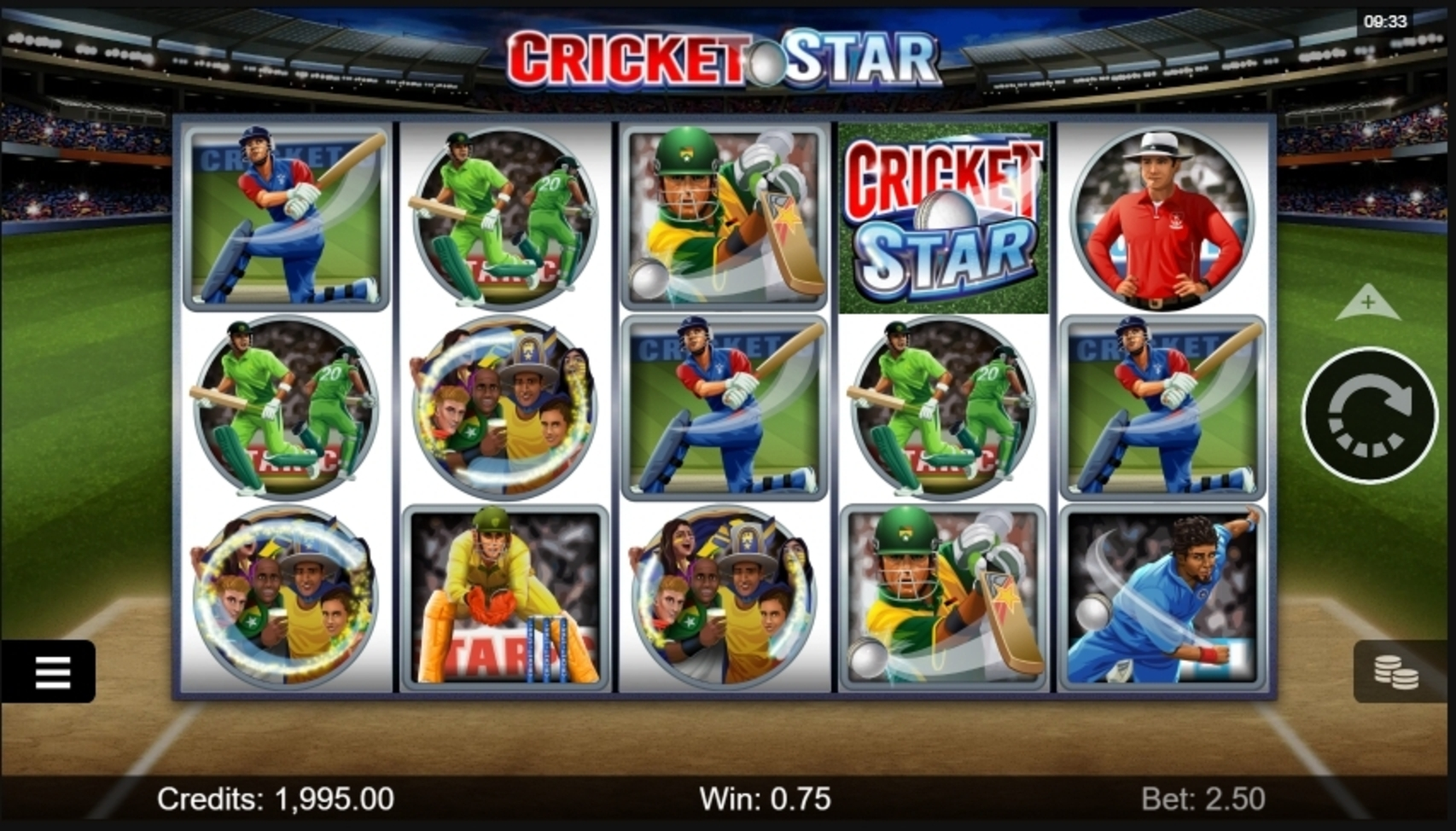Win Money in Cricket Star Free Slot Game by Microgaming