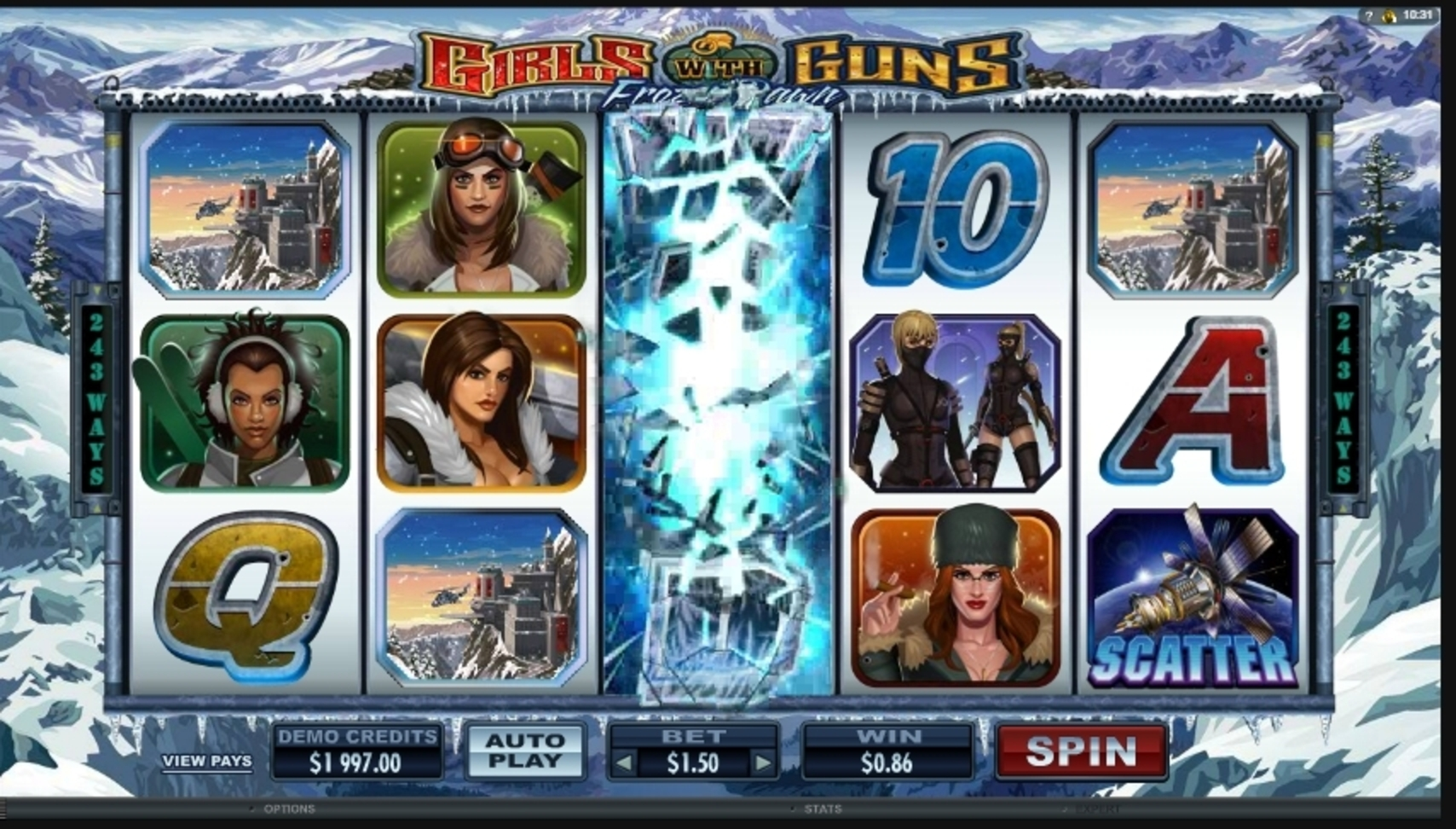 Win Money in Girls With Guns - Frozen Dawn Free Slot Game by Microgaming