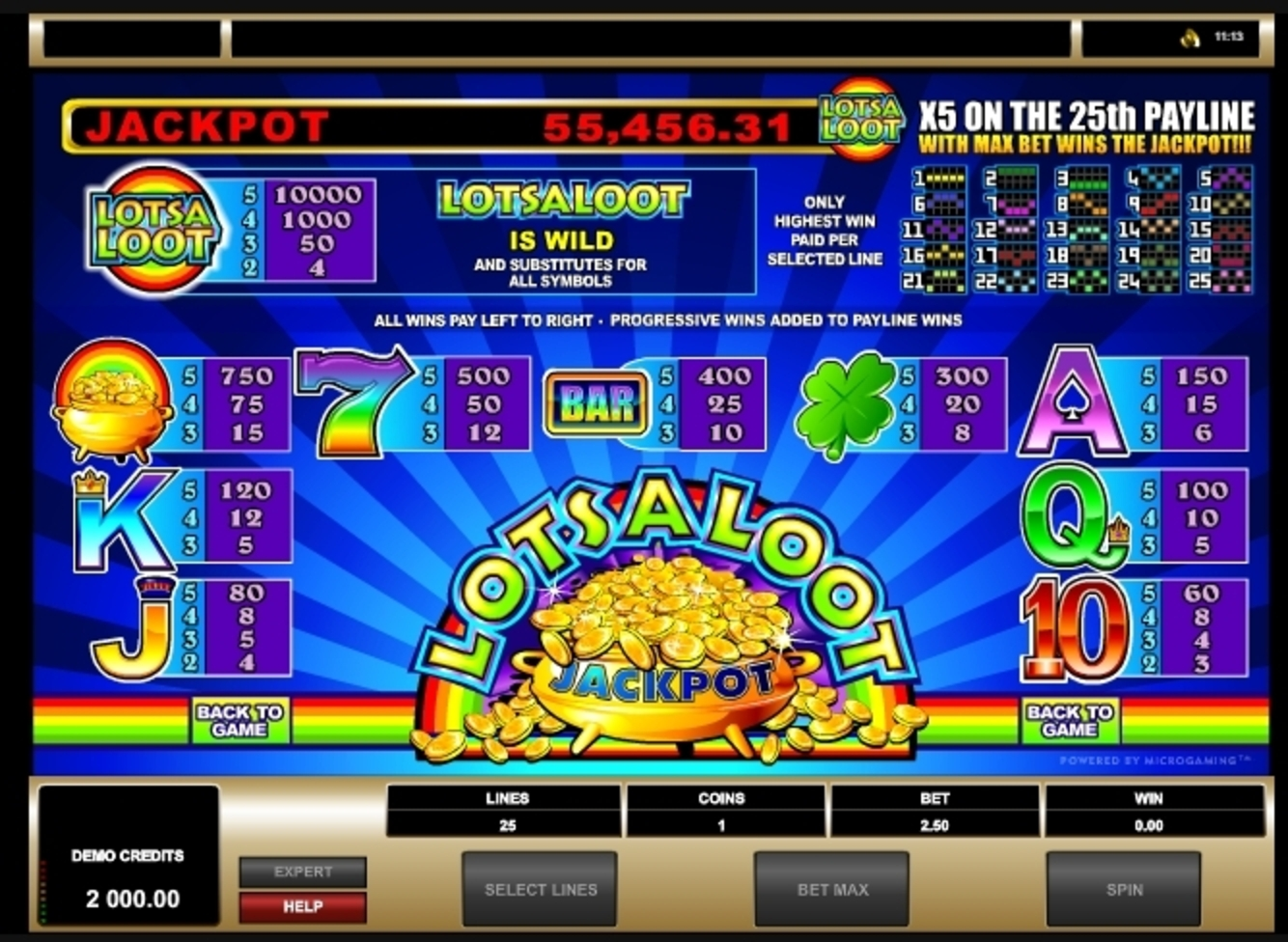 Reels in Lots a Loot 5 Reel Slot Game by Microgaming