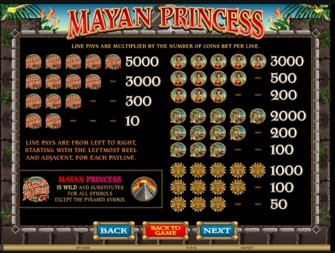 Info of Mayan Princess Slot Game by Microgaming