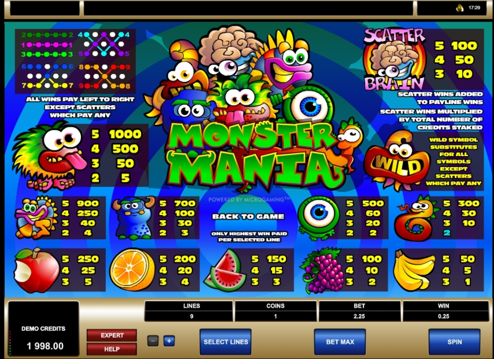 Info of Monster Mania Slot Game by Microgaming
