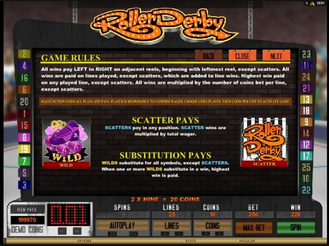 Info of Roller Derby Slot Game by Microgaming