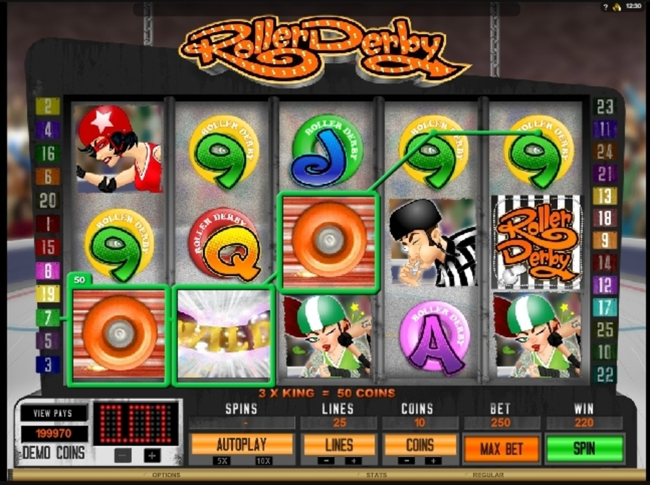 Win Money in Roller Derby Free Slot Game by Microgaming