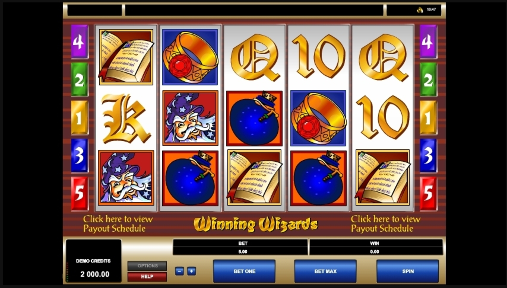 Reels in Winning Wizards Slot Game by Microgaming