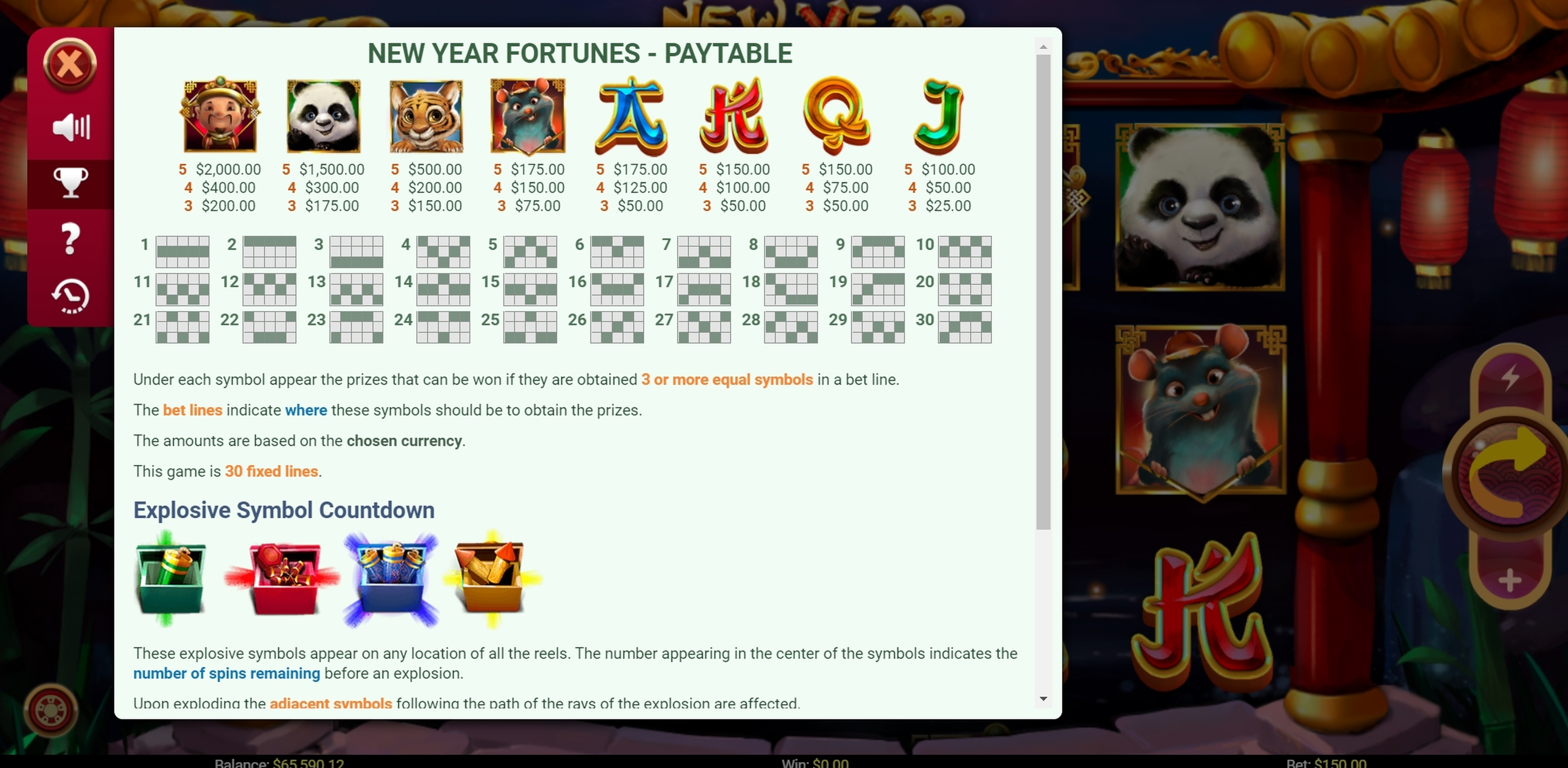 Info of New Year Fortunes Slot Game by Mobilots