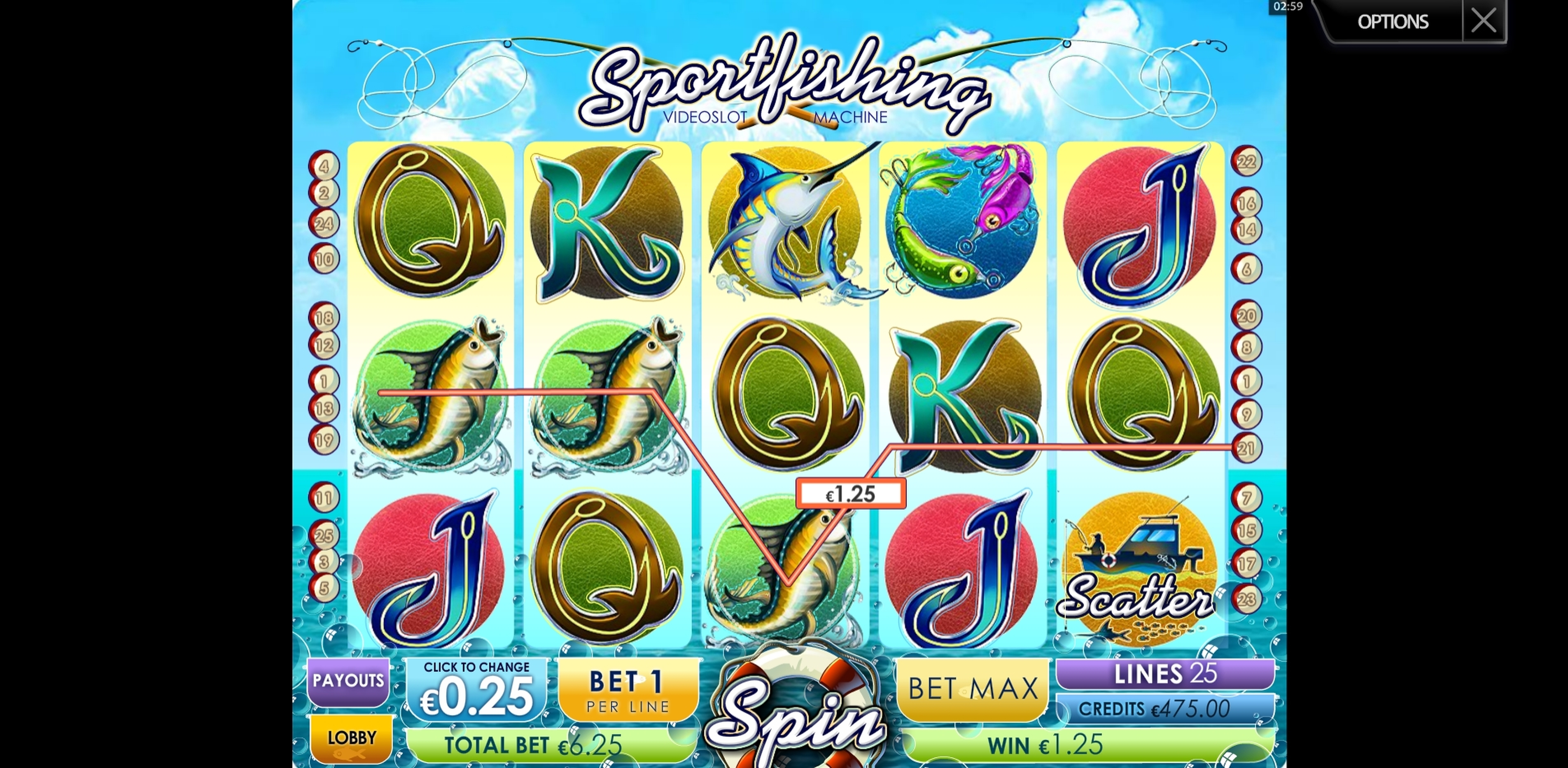 Win Money in Sportsfishing Free Slot Game by Multislot