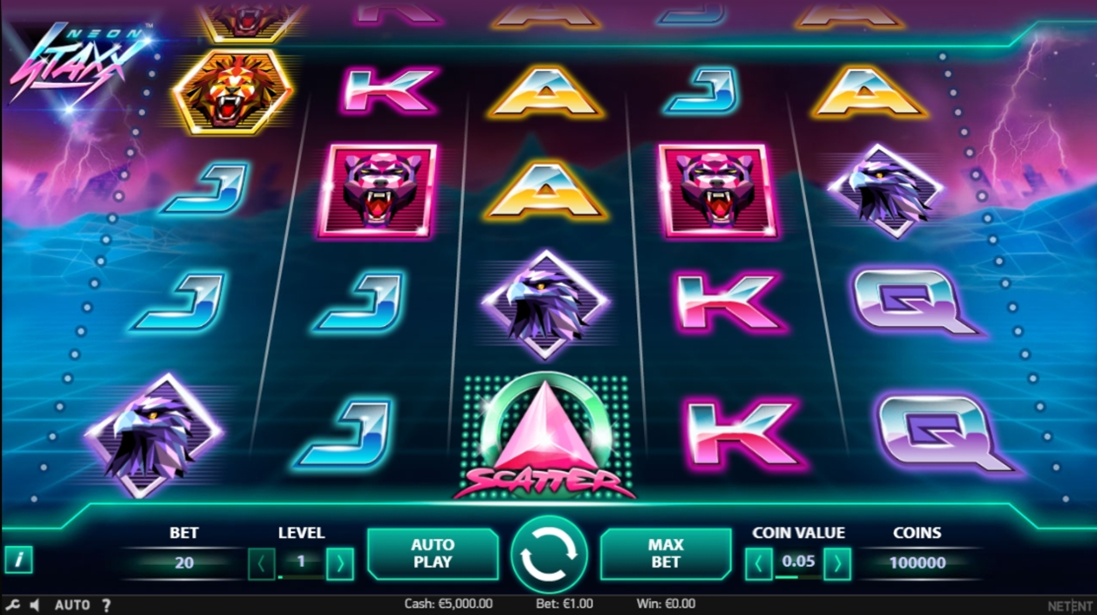 Reels in Neon Staxx Slot Game by NetEnt