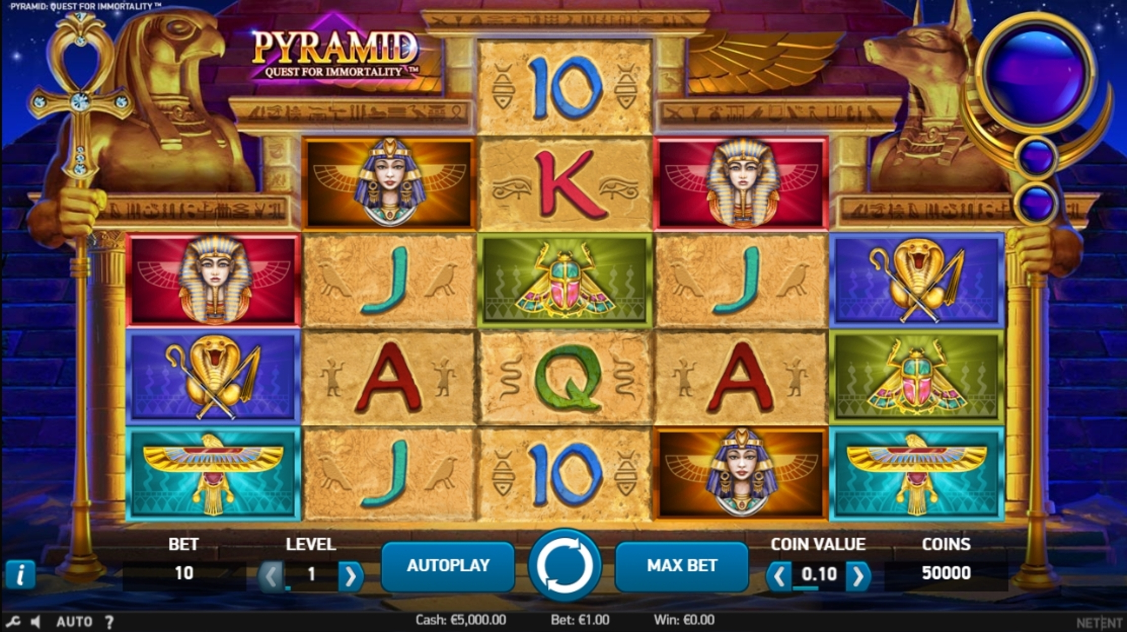 Reels in Pyramid: Quest for Immortality Slot Game by NetEnt
