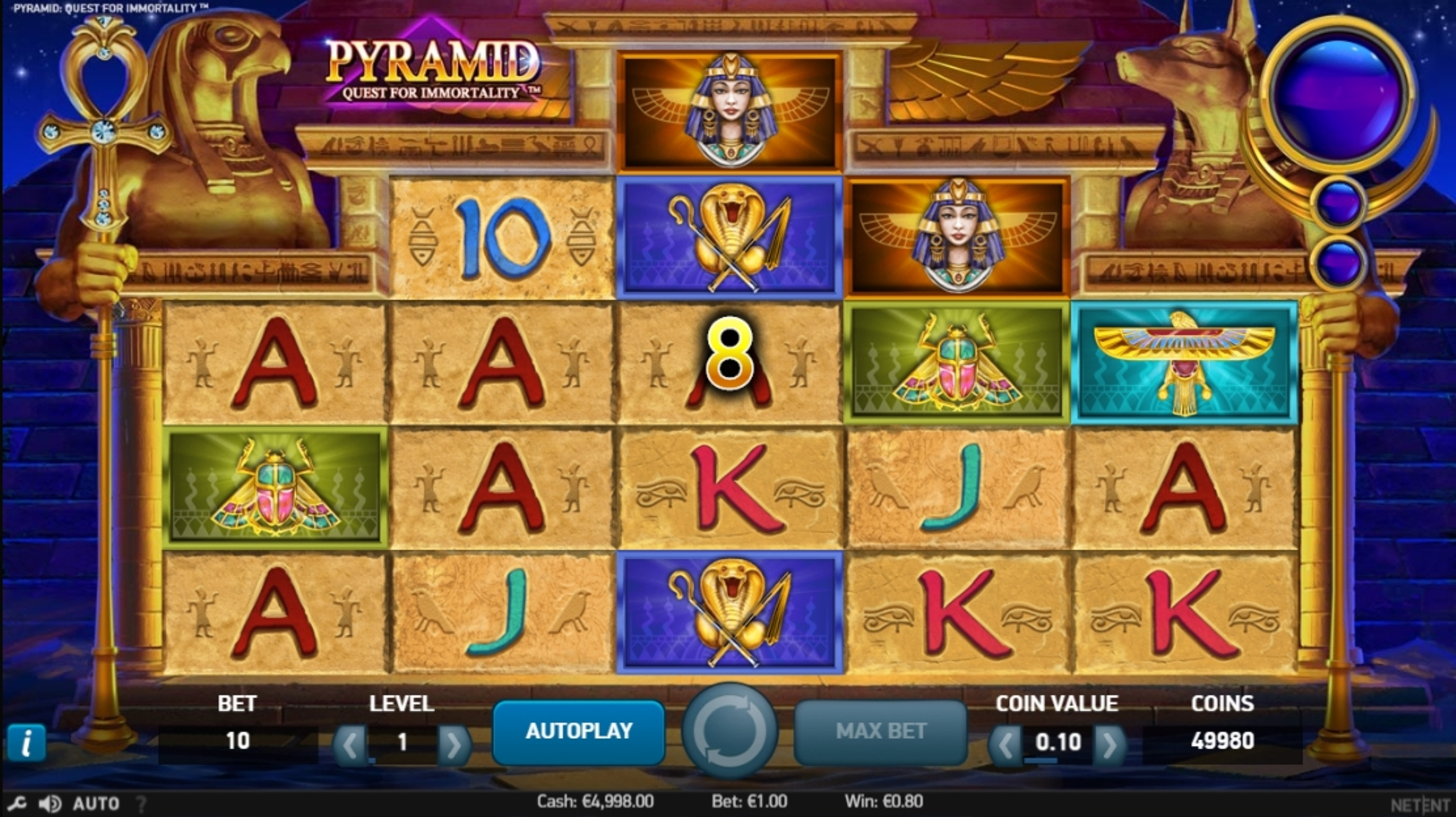 Win Money in Pyramid: Quest for Immortality Free Slot Game by NetEnt
