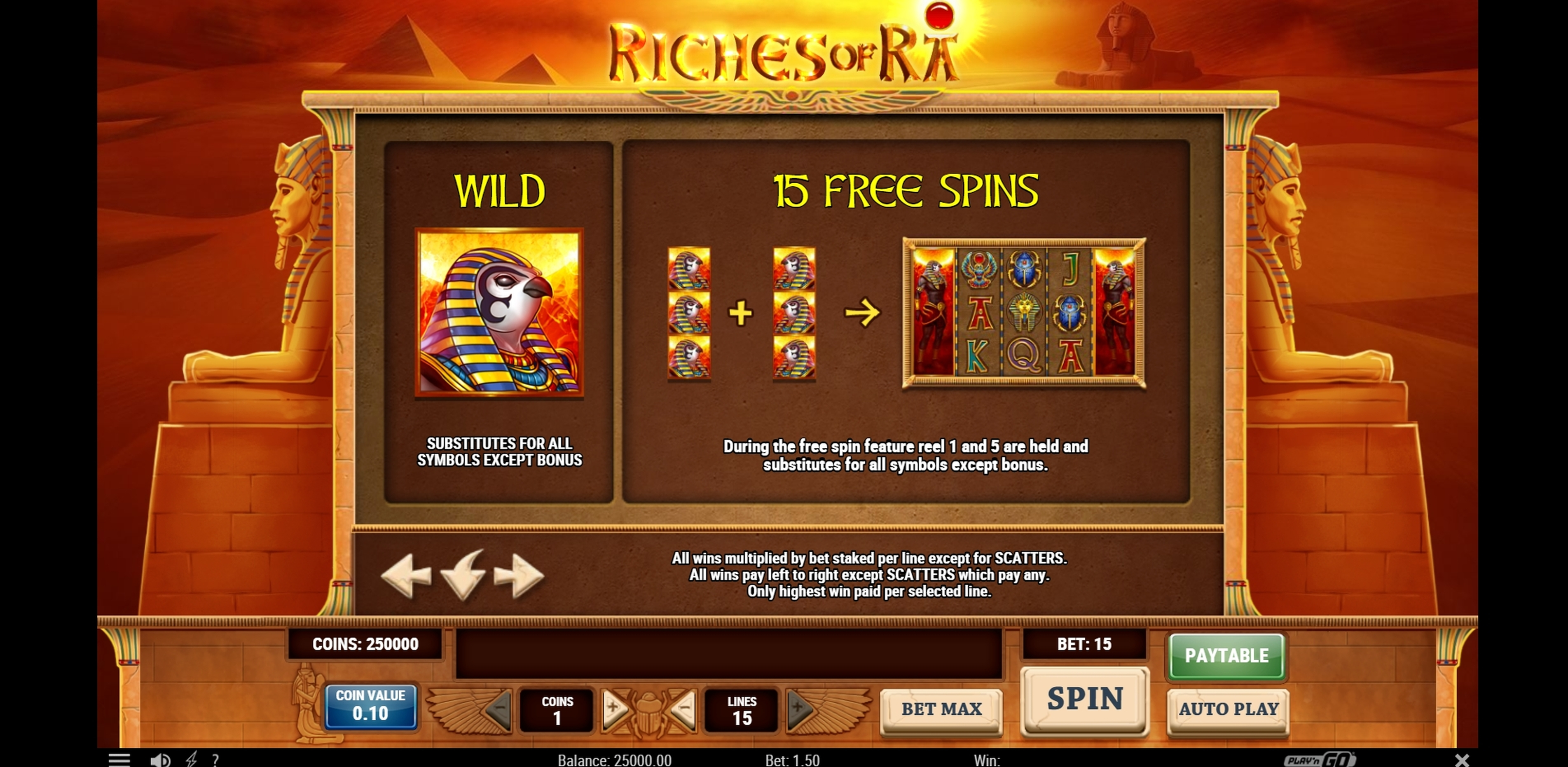 Info of Riches of Ra Slot Slot Game by Playn GO