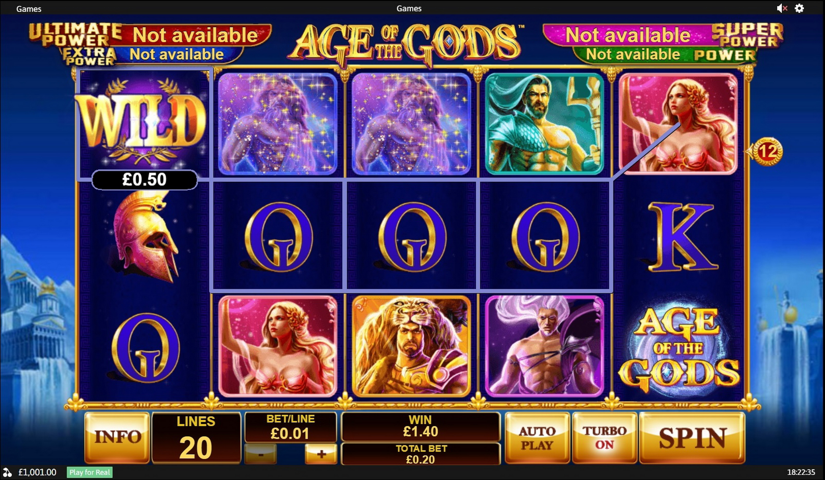 Win Money in Age of the Gods Free Slot Game by Playtech