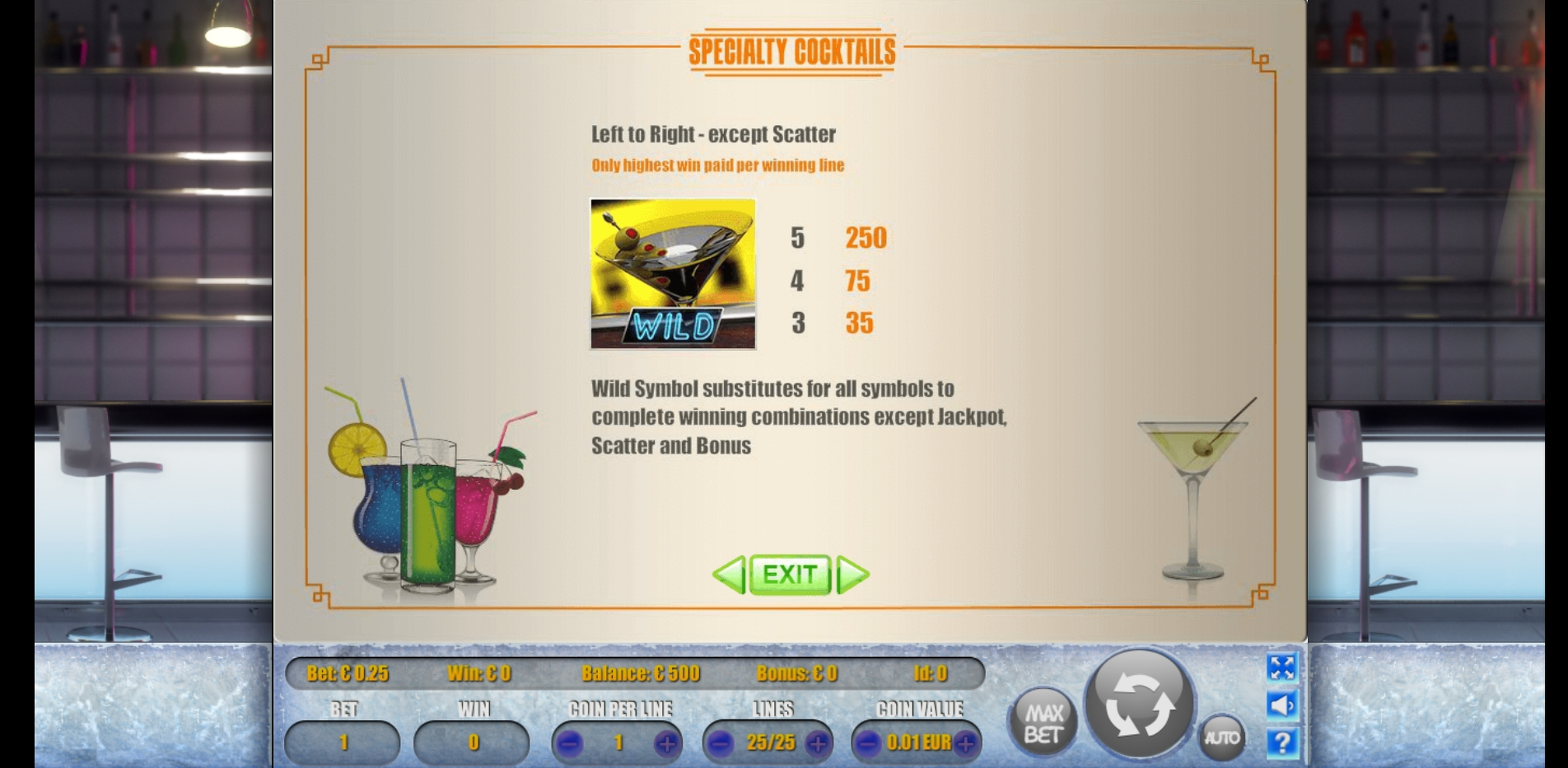Info of Cocktails Slot Game by Portomaso Gaming