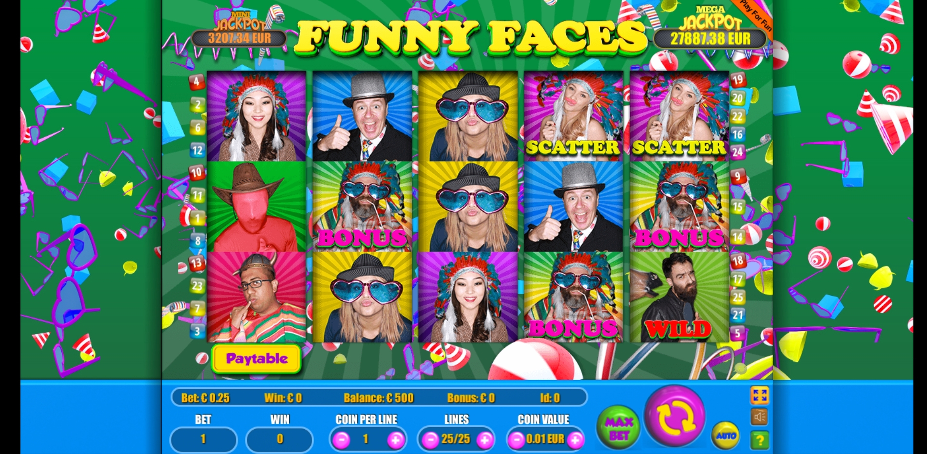Reels in Funny Faces Slot Game by Portomaso Gaming