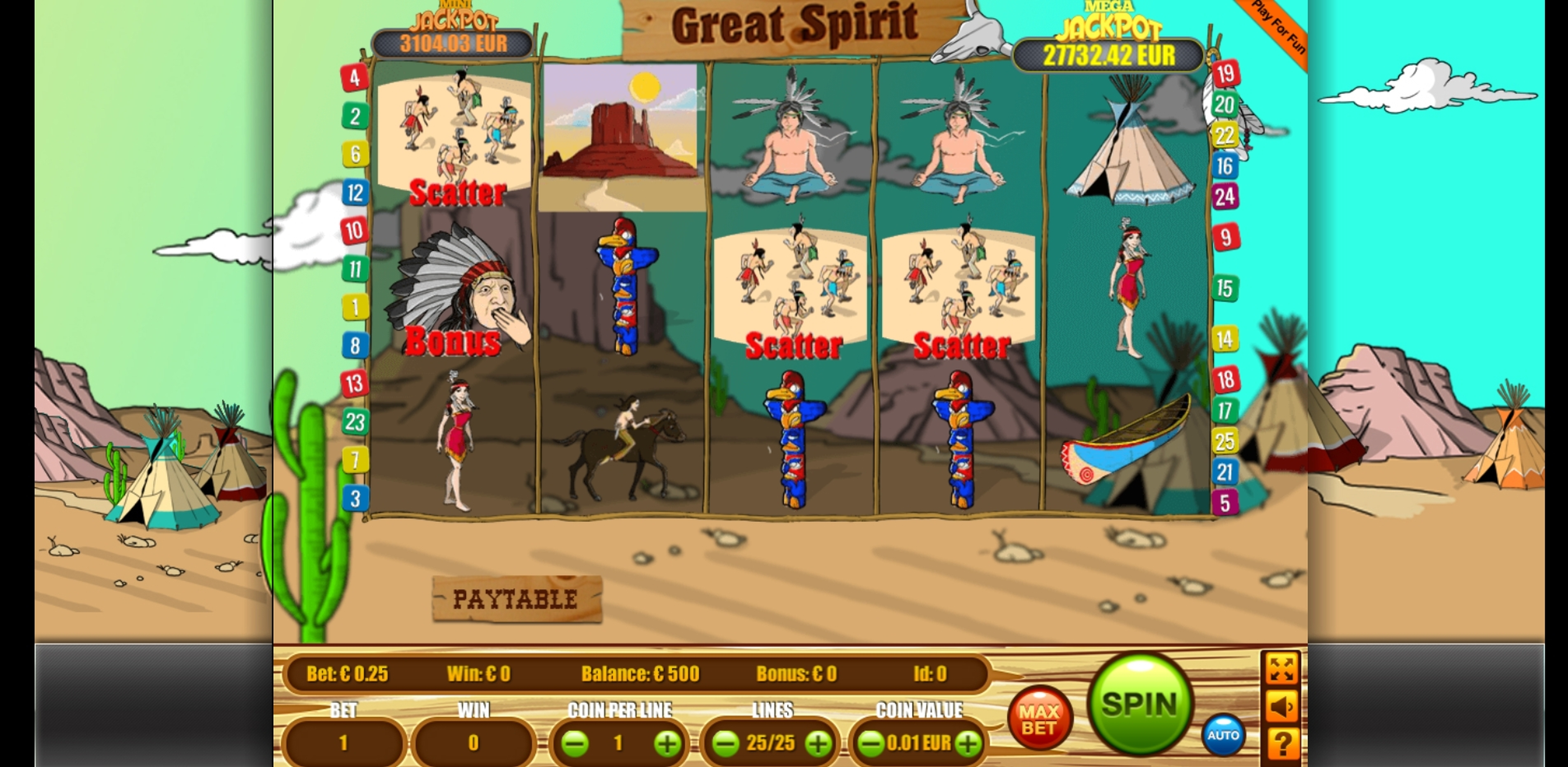 Reels in Great Spirit Slot Game by Portomaso Gaming