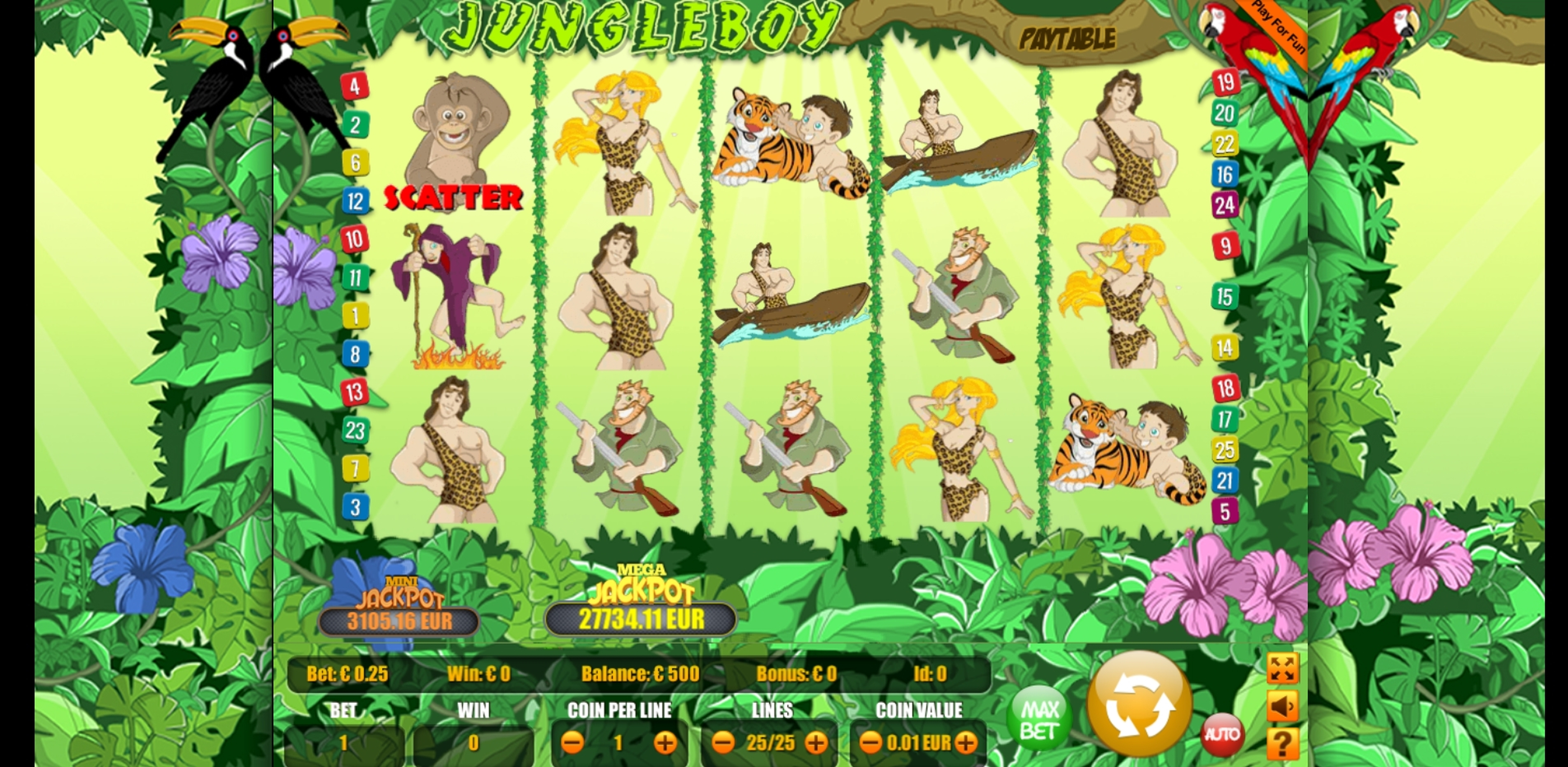 Reels in Jungle Boy Slot Game by Portomaso Gaming