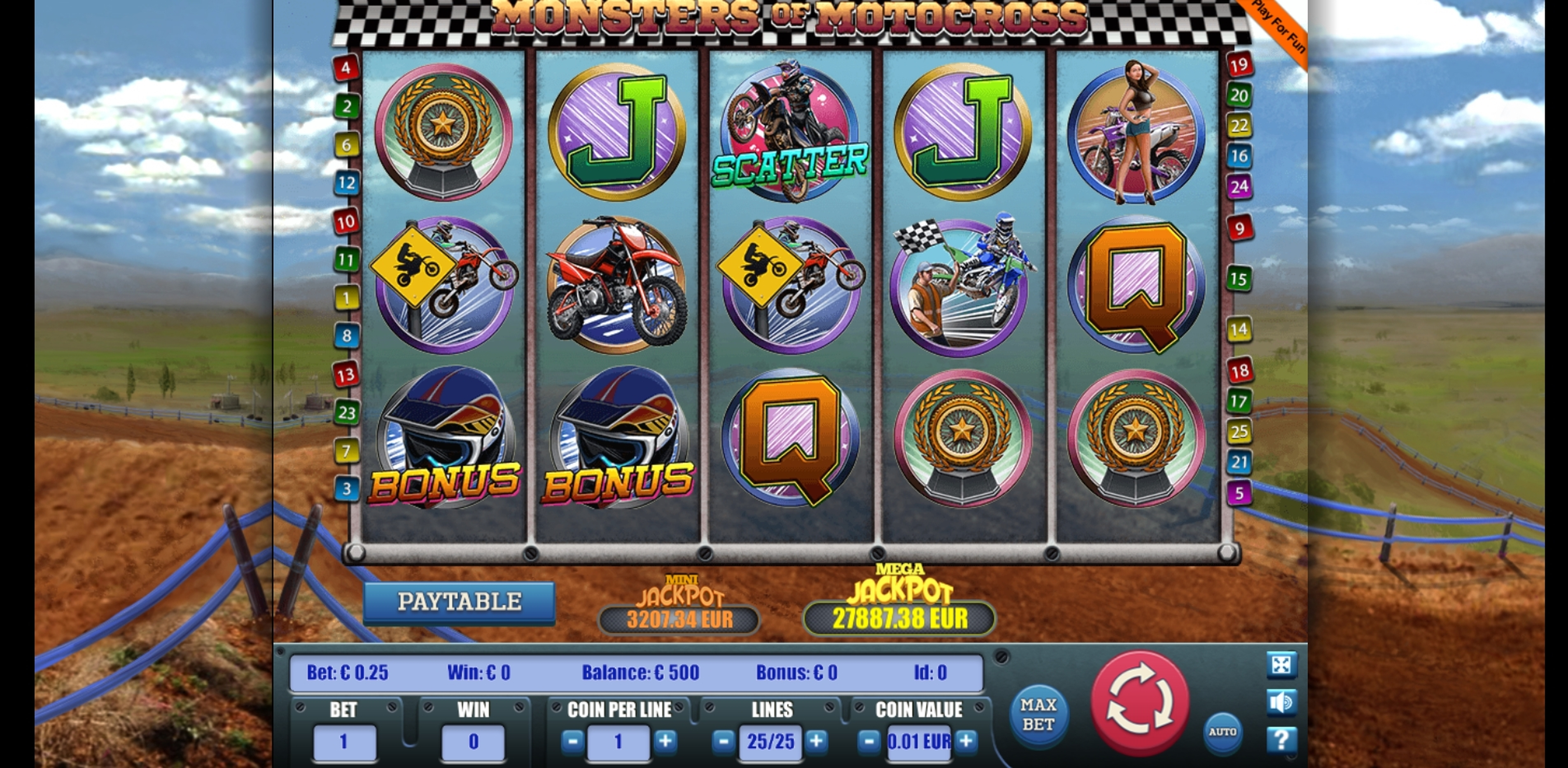 Reels in Monster of motocross Slot Game by Portomaso Gaming