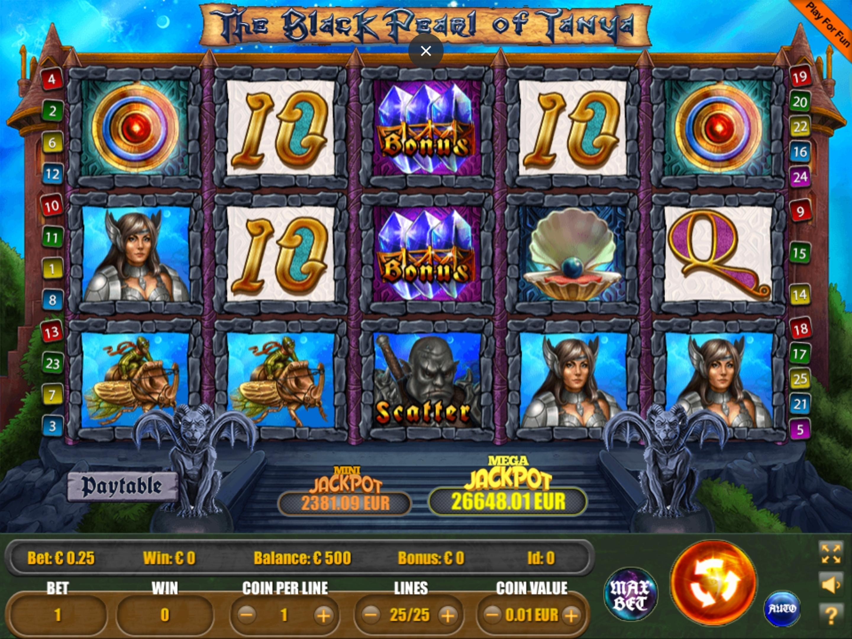 Reels in The Black Pearl of Tanya Slot Game by Portomaso Gaming