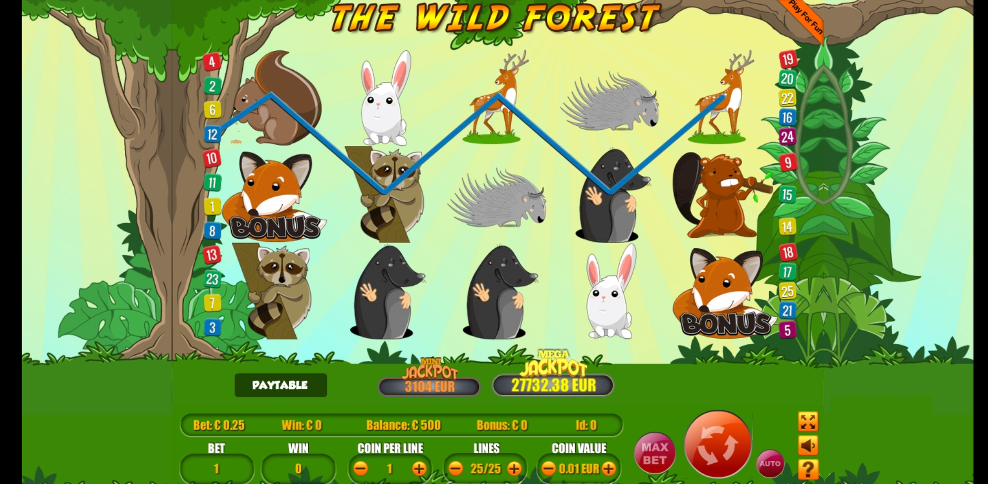Reels in The Wild Forest Slot Game by Portomaso Gaming