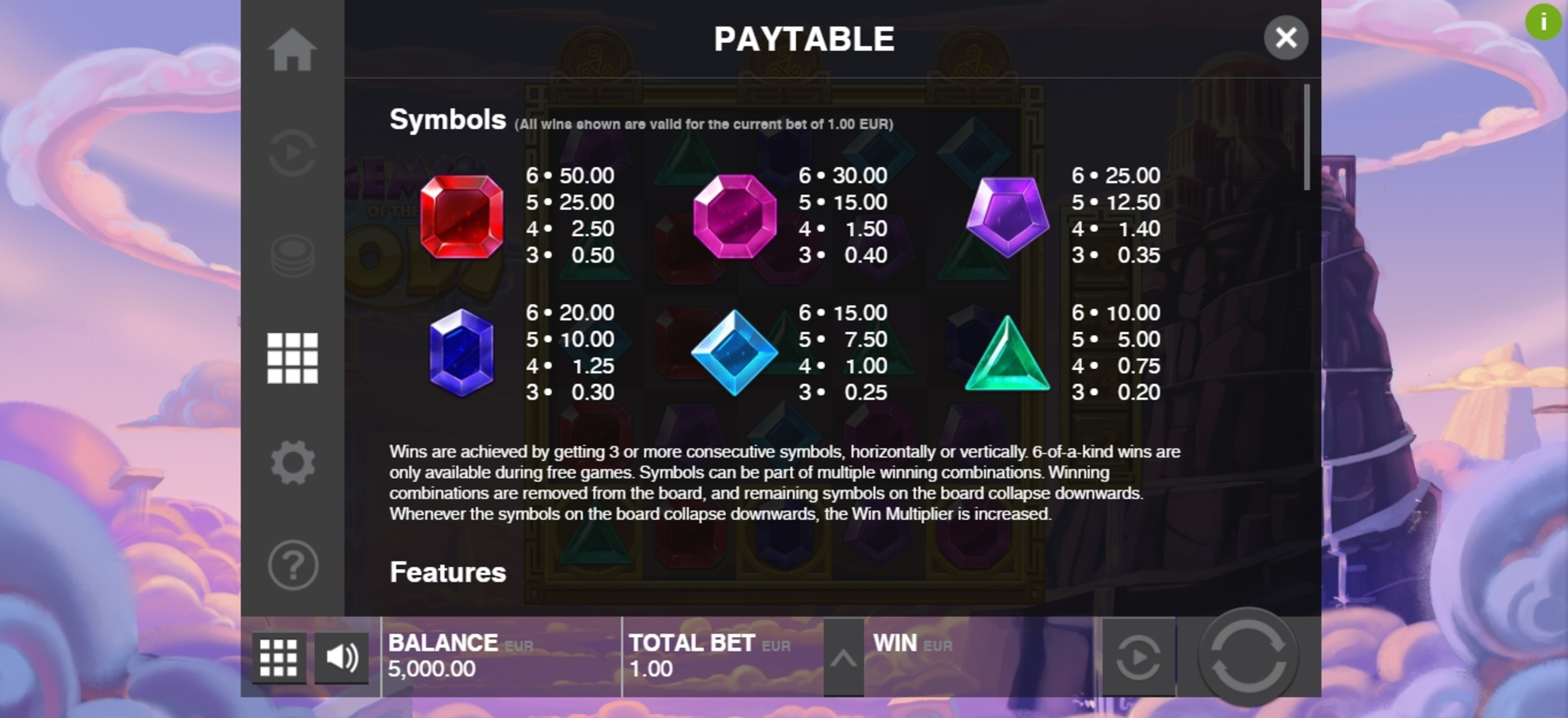 Info of Gems of the Gods Slot Game by Push Gaming