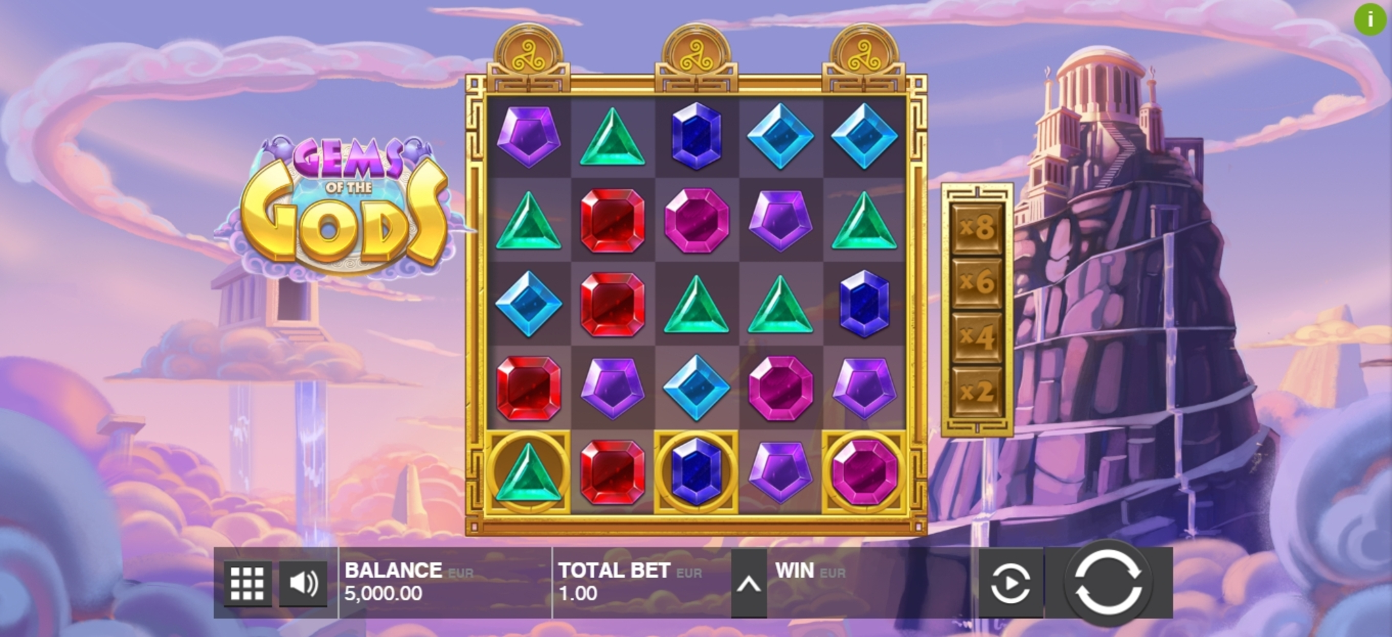 Reels in Gems of the Gods Slot Game by Push Gaming