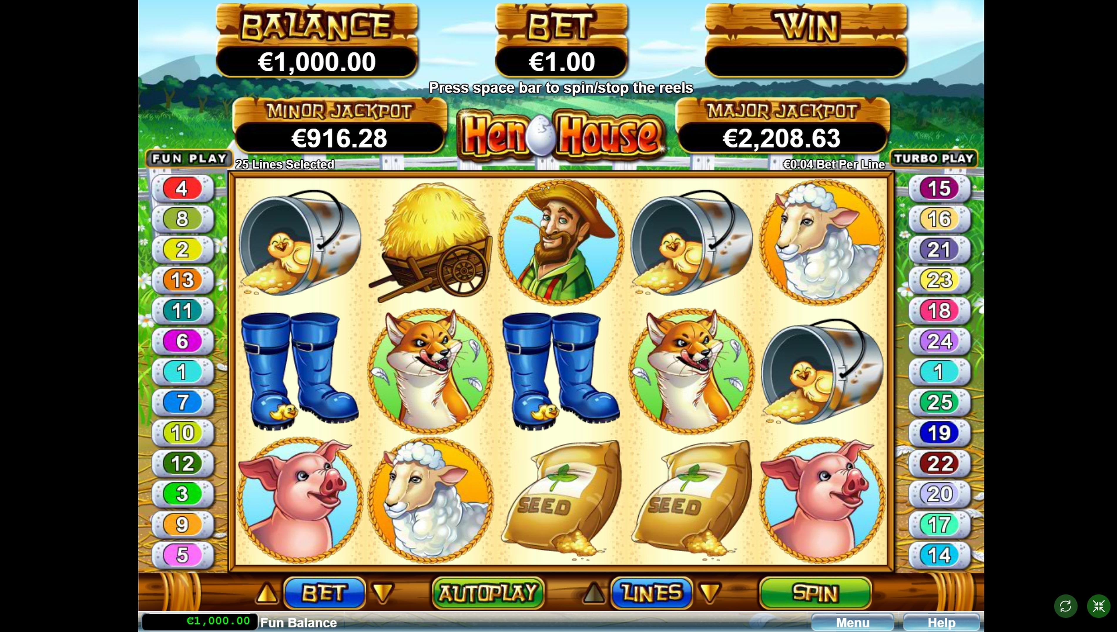 Reels in Hen House Slot Game by RTG