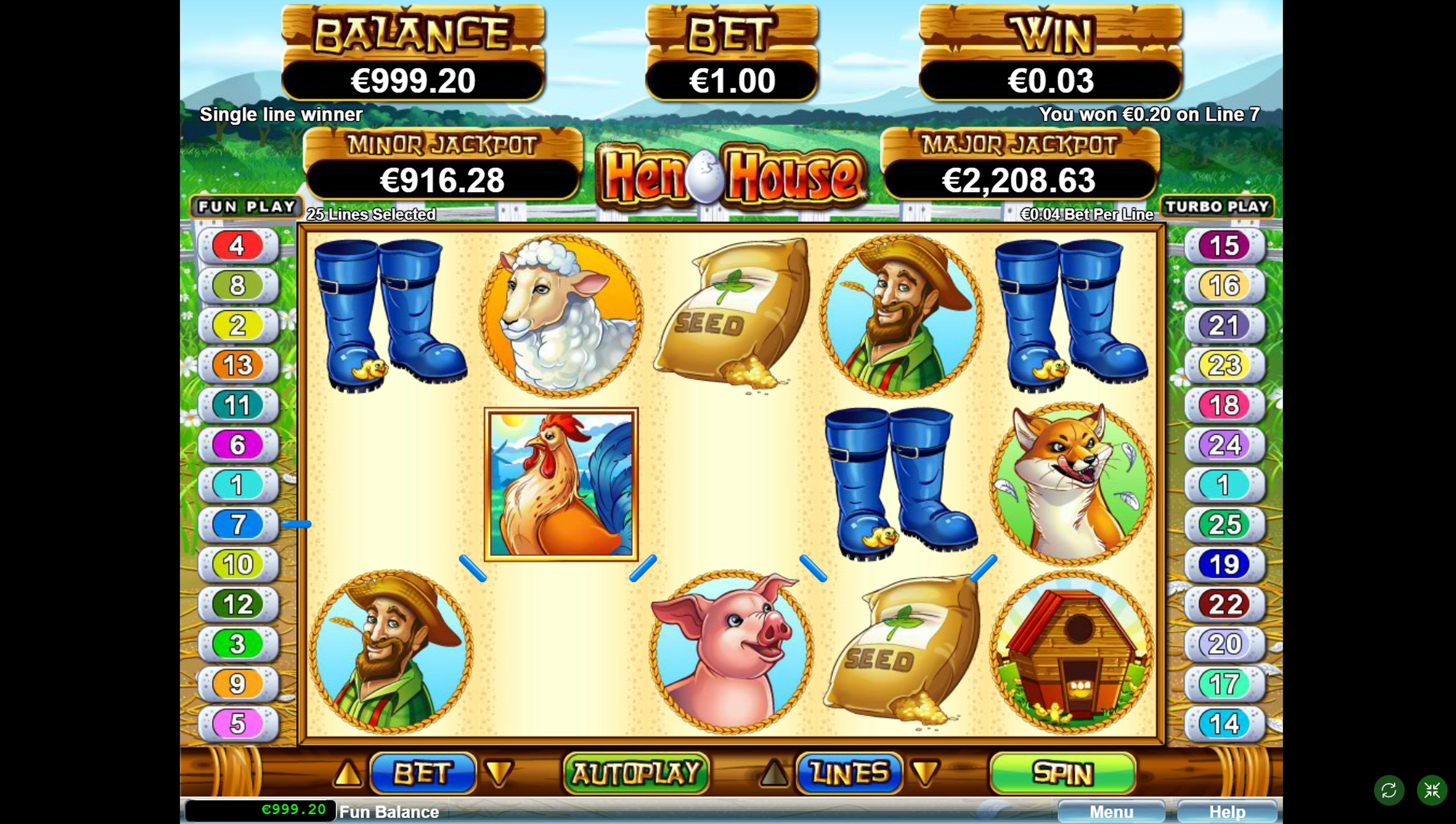 Win Money in Hen House Free Slot Game by RTG