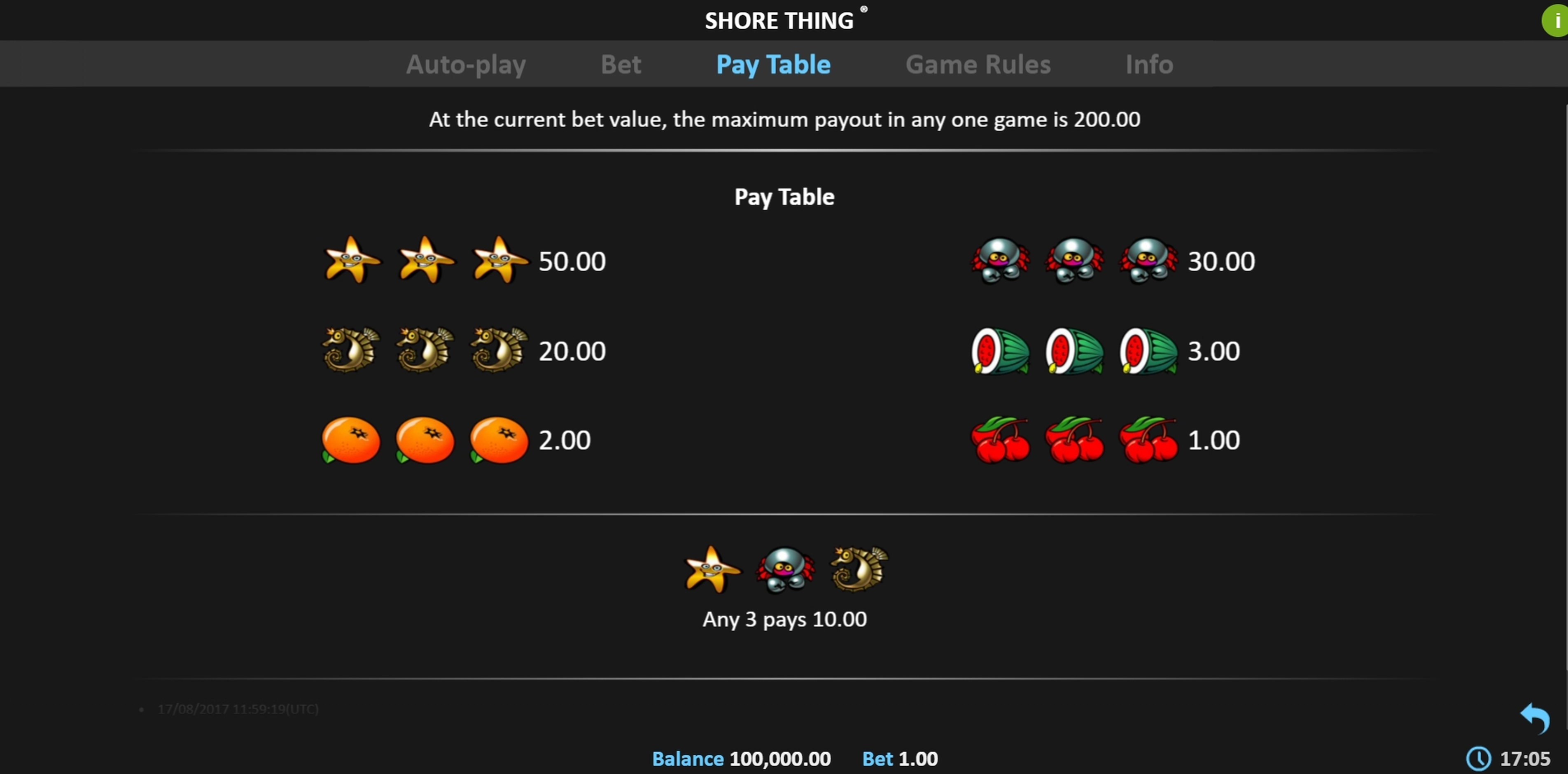 Info of Shore Thing Pull Tab Slot Game by Realistic