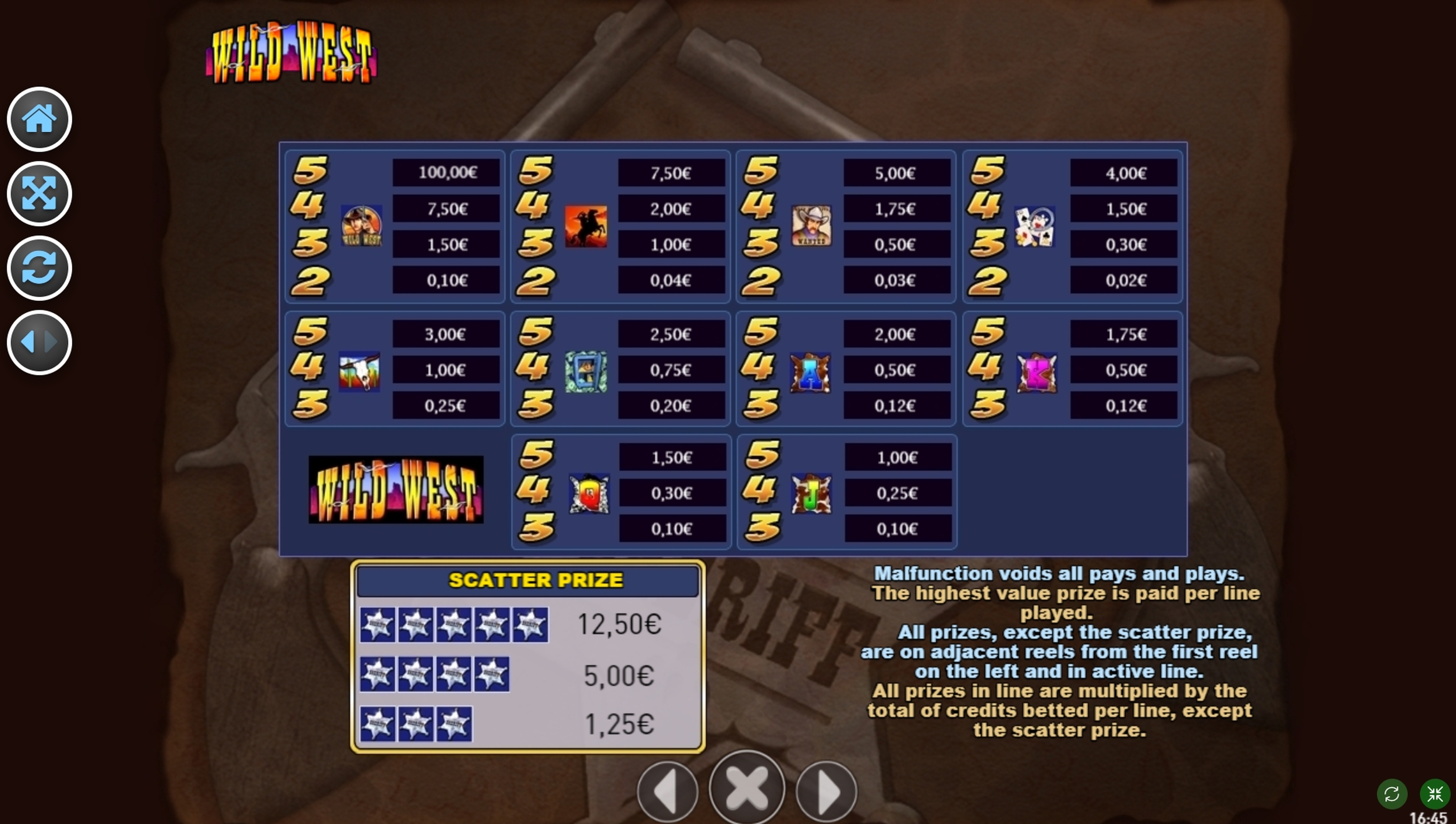 Info of Wild West (R. Franco) Slot Game by R. Franco