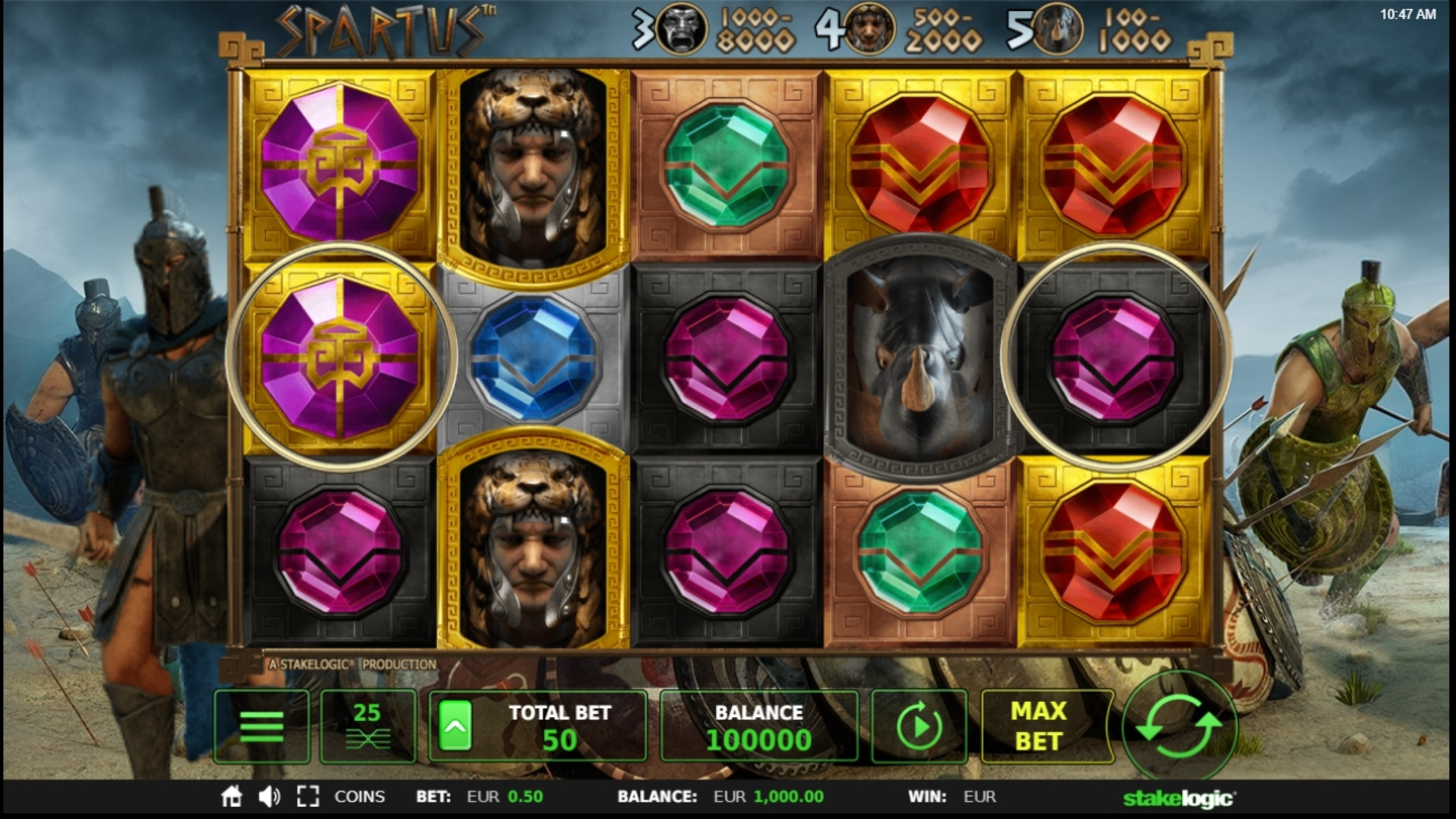 Reels in Spartus Slot Game by StakeLogic