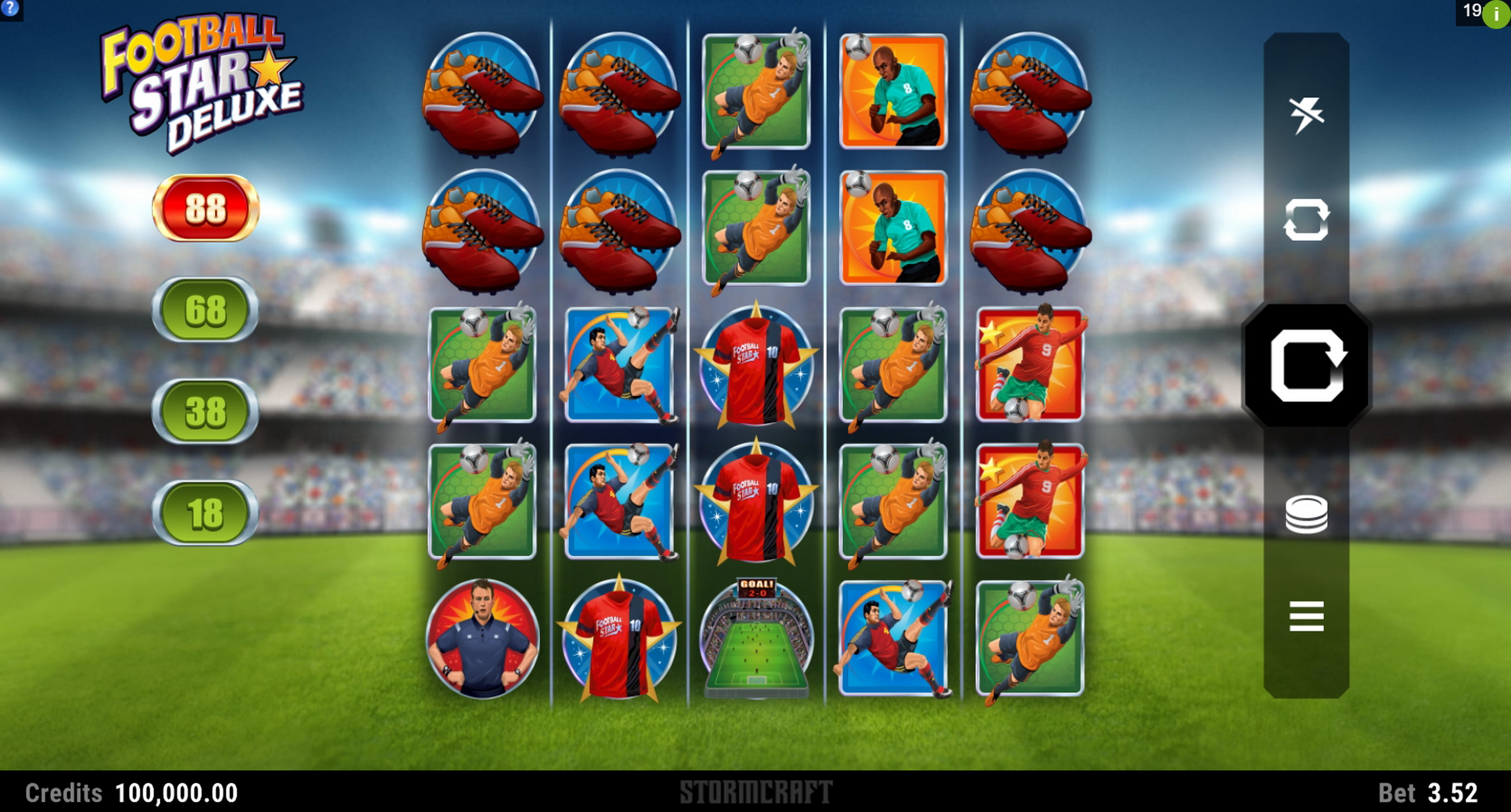 Reels in Football Star Deluxe Slot Game by Stormcraft Studios