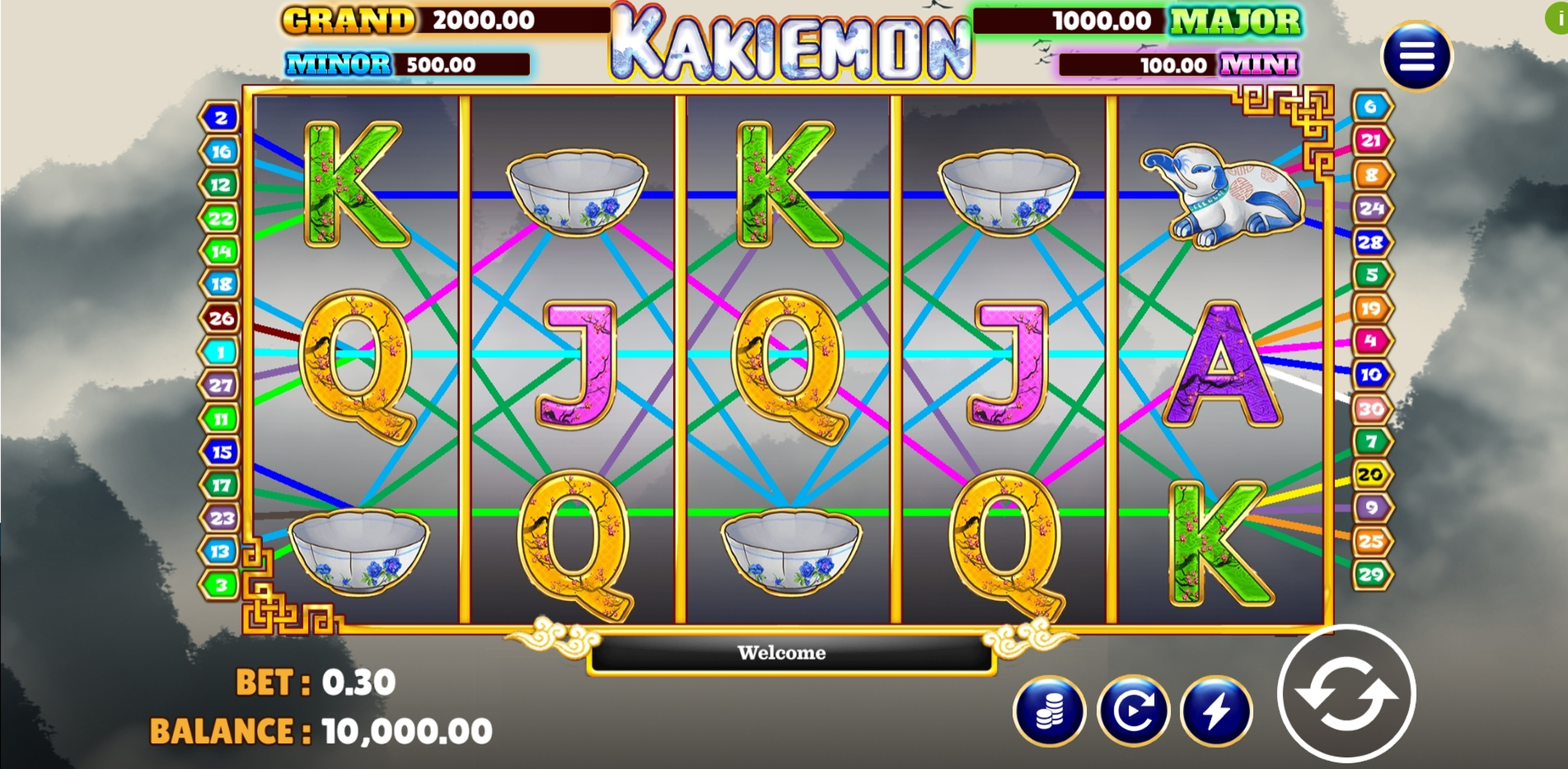 Reels in Kakiemon Slot Game by Vela Gaming
