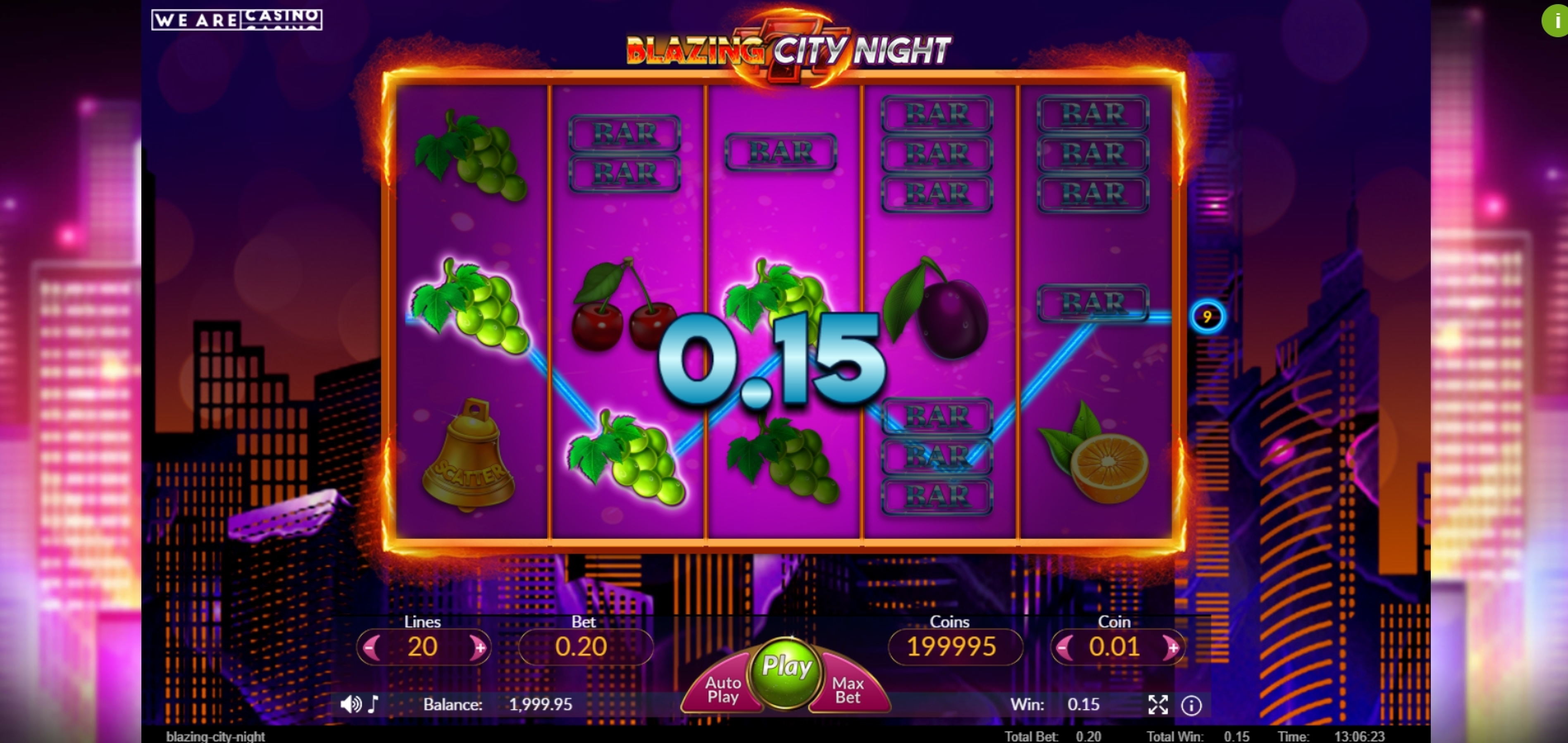 Win Money in Blazing City Night Free Slot Game by We Are Casino