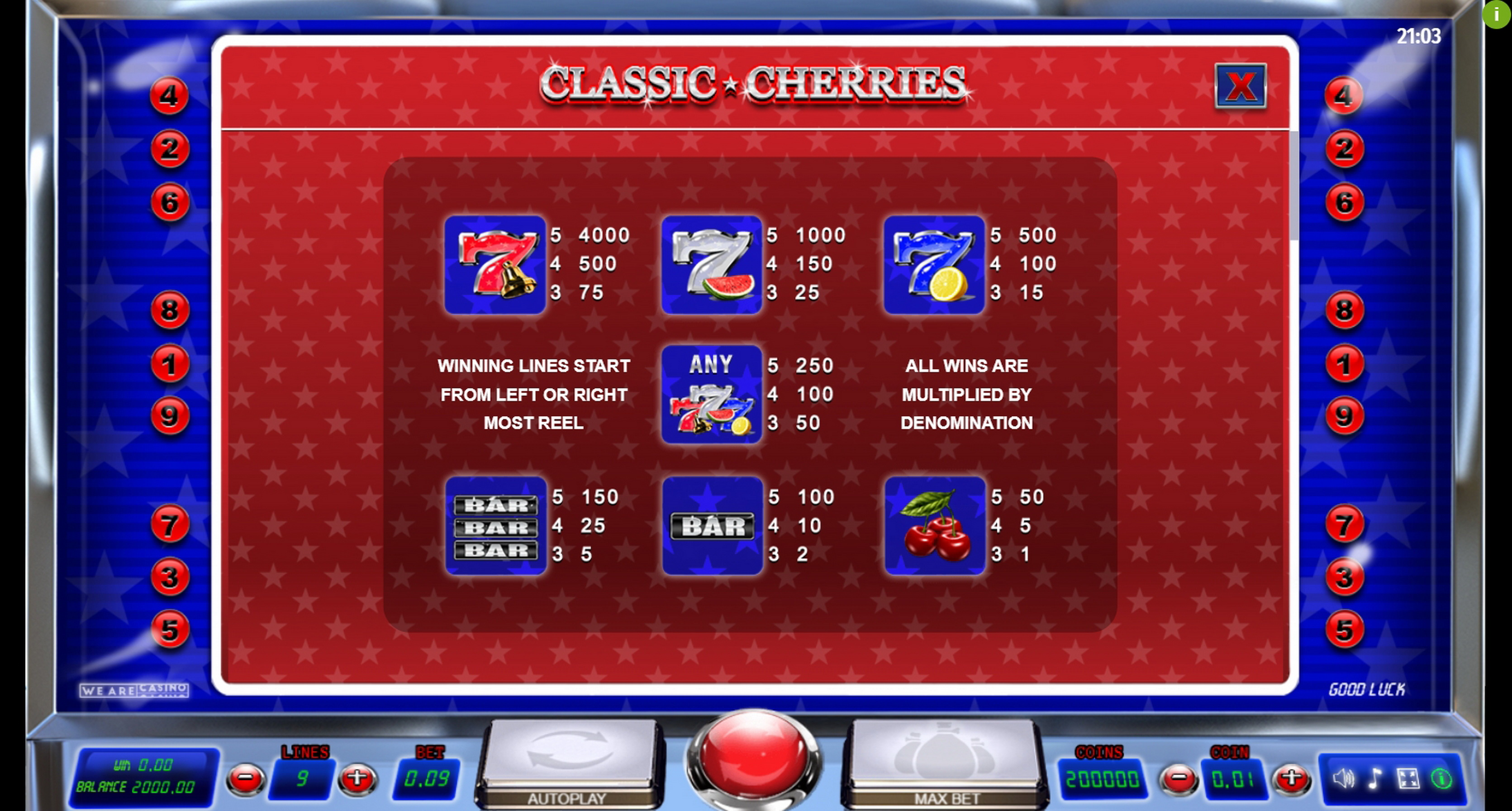 Info of Classic Cherries Slot Game by We Are Casino